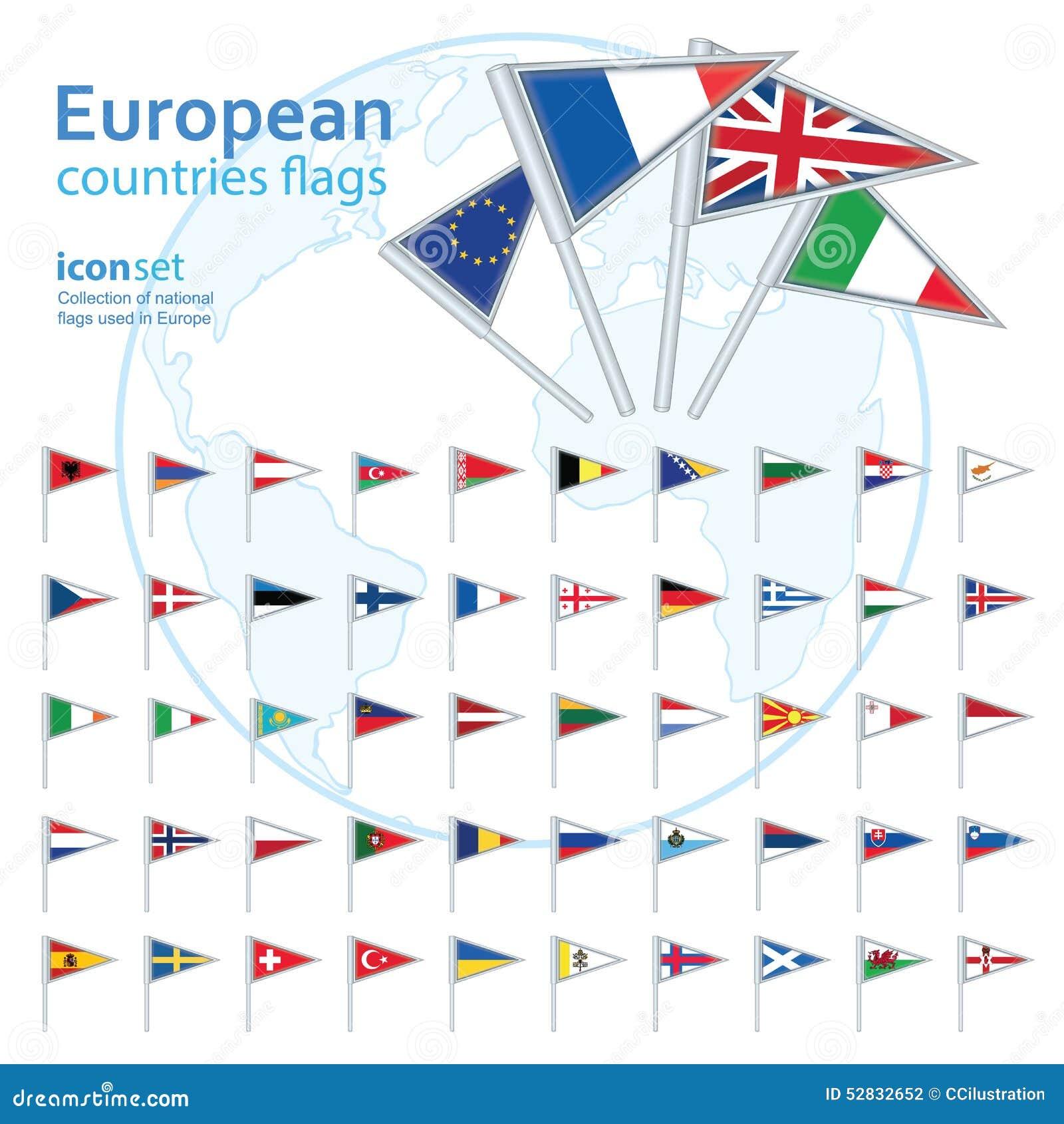 Ensemble de drapeaux européens, illustration de vecteur