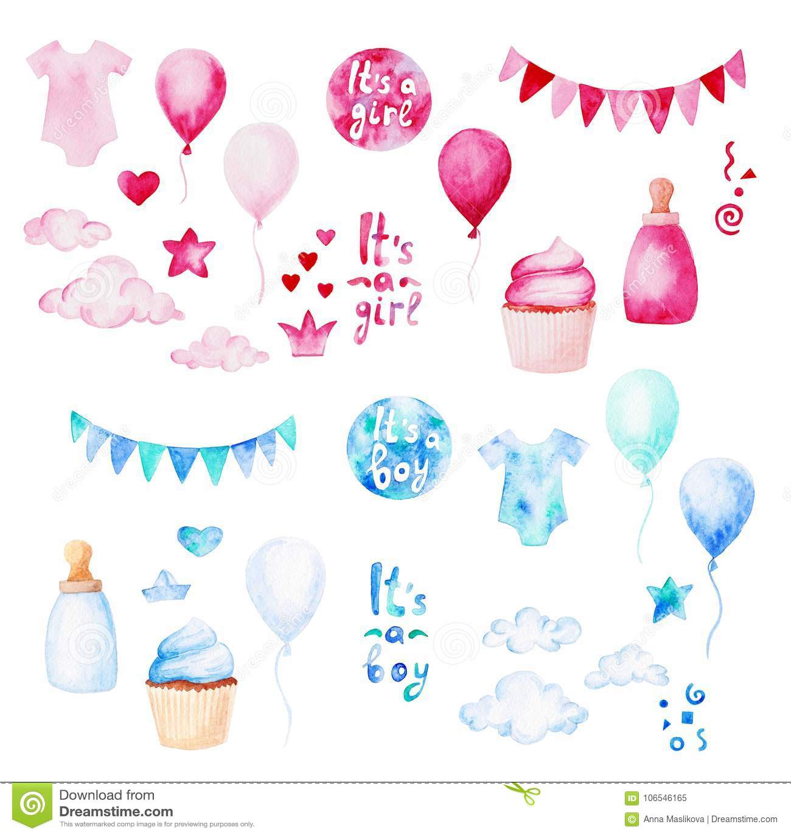 Ensemble de fête de naissance d aquarelle E Pour la conception, la copie ou le fond