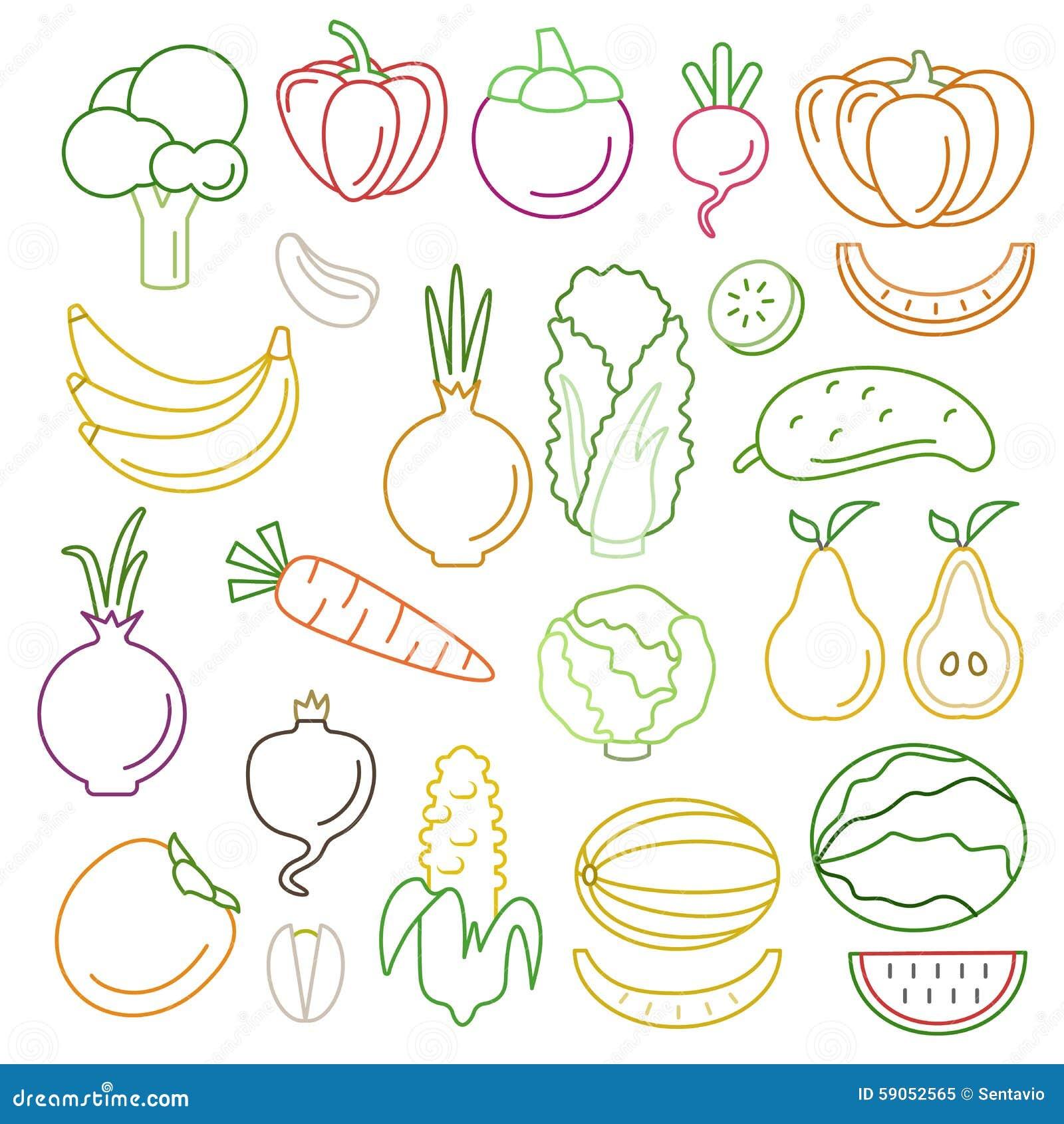 Line Art Fruits : Ensemble de fantaisie graphique nourriture vecteur