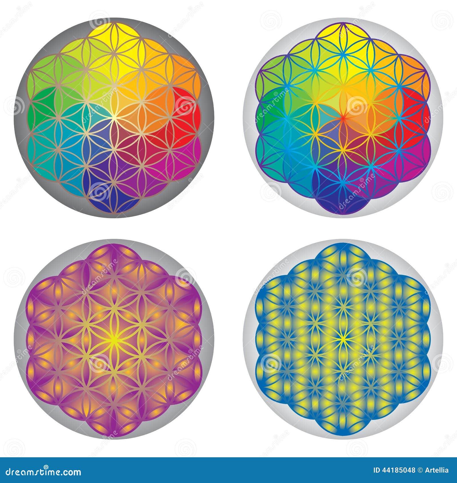 Ensemble de fleur des symboles de la vie couleurs d 39 arc en ciel illustration de vecteur - Symbole de la vie ...