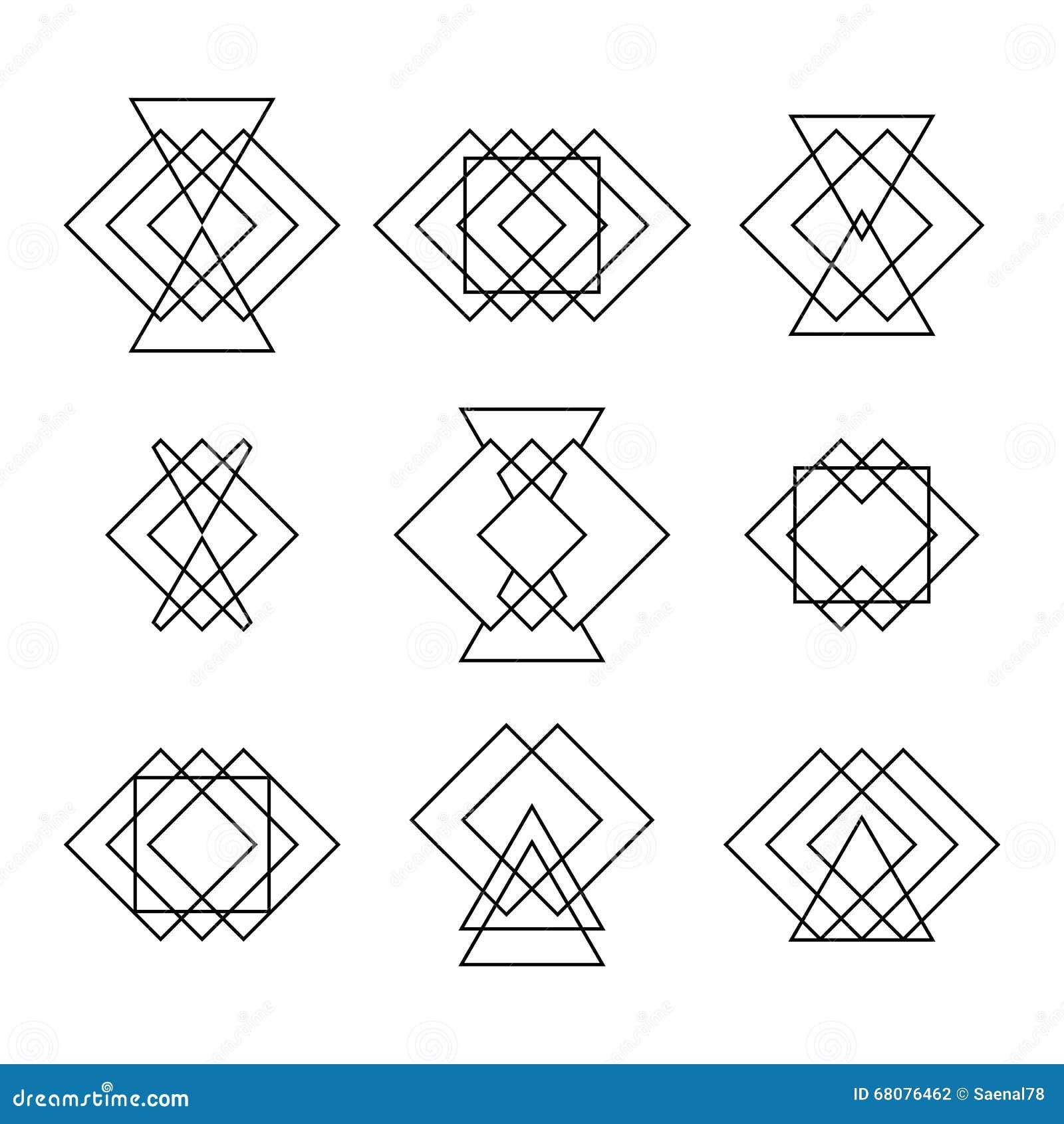 ensemble de formes g om triques de hippie la mode tatouage ethnique g om trique illustration. Black Bedroom Furniture Sets. Home Design Ideas