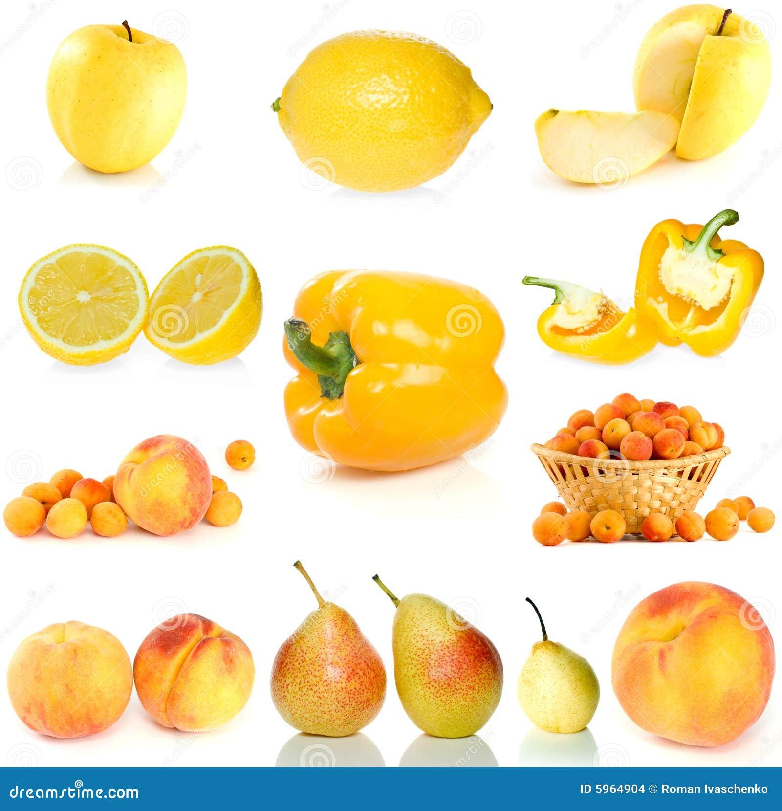 Ensemble de fruit, de baies et de légumes jaunes