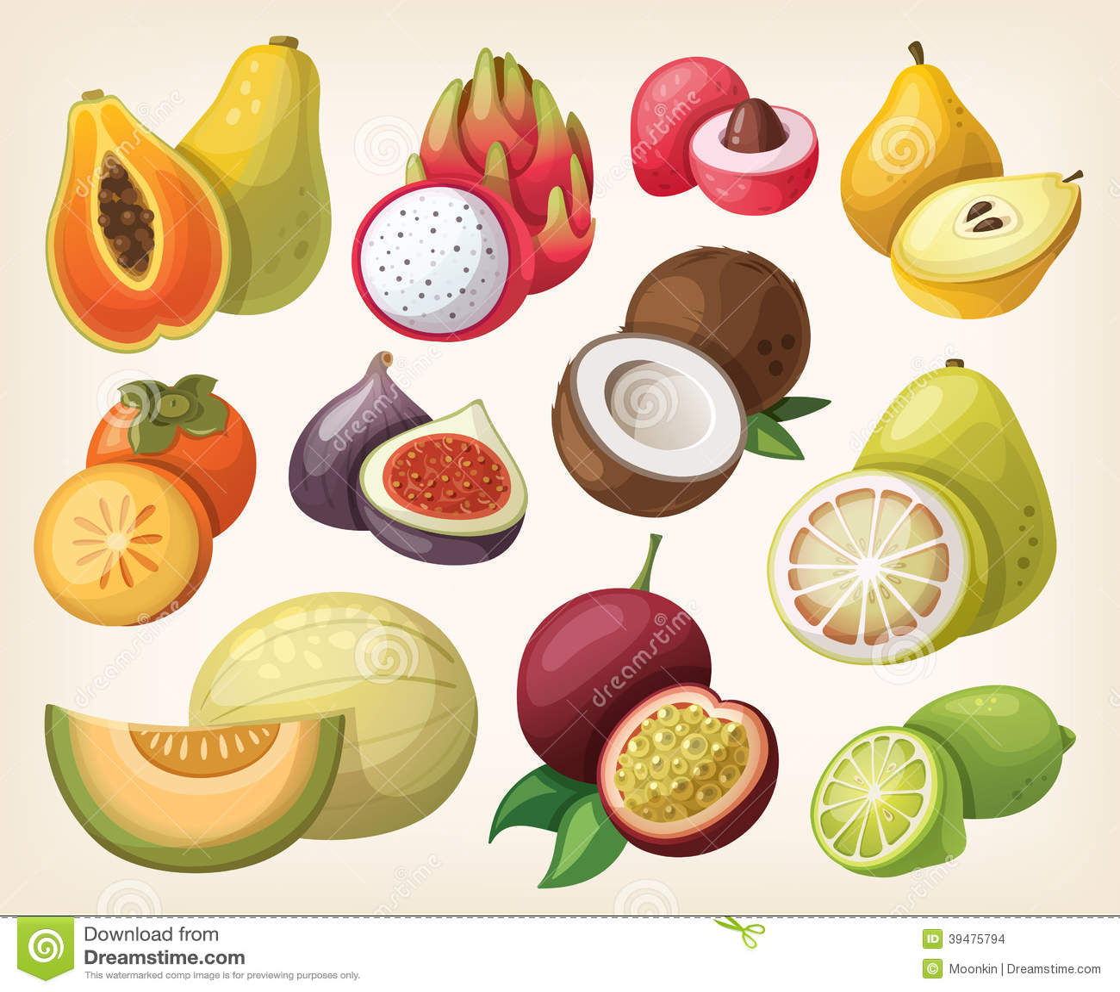 Ensemble de fruit exotique illustration de vecteur - Image fruit exotique ...