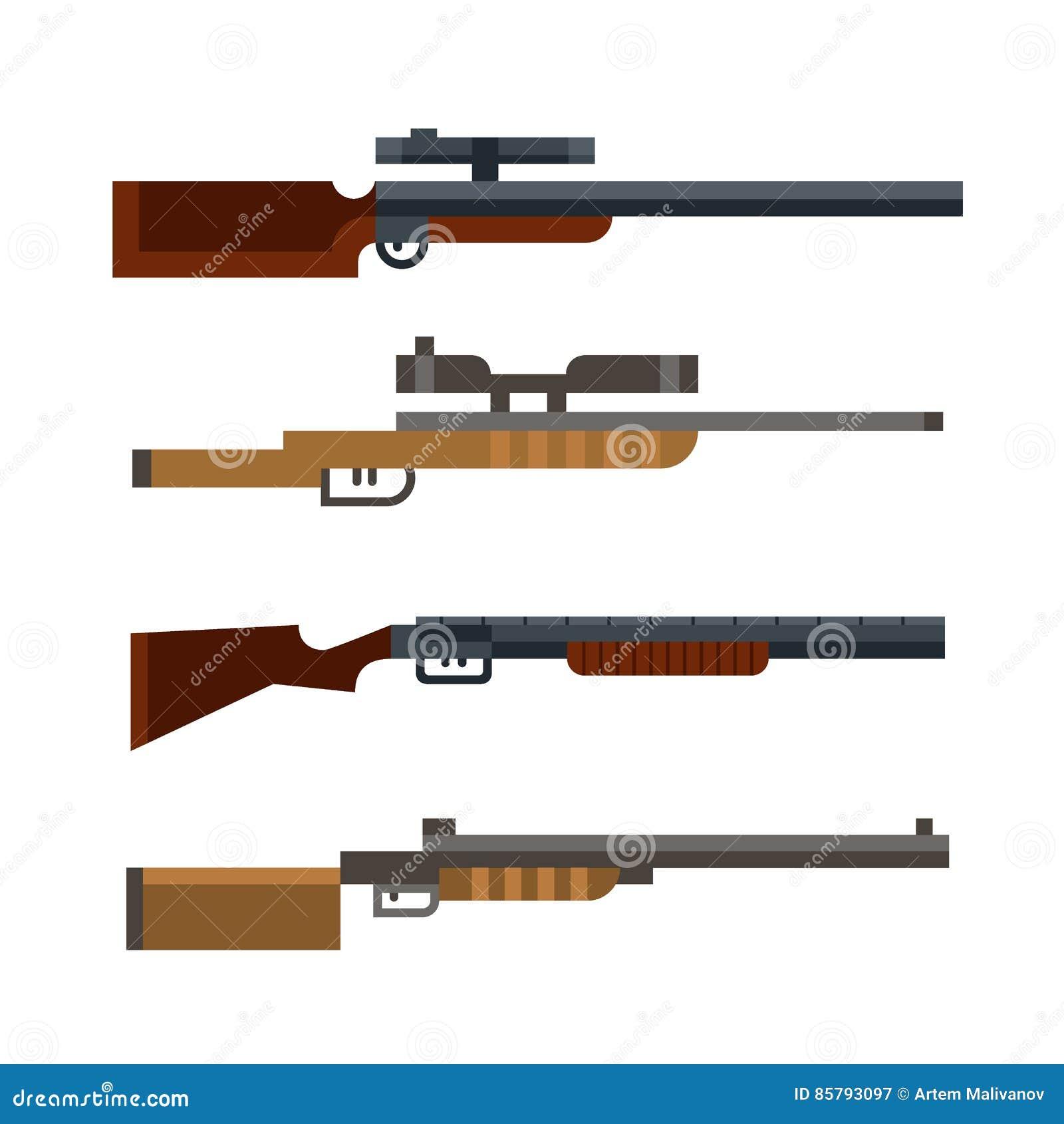 Dessin Fusil De Chasse ensemble de fusil de chasse de chasseur vecteur illustration de