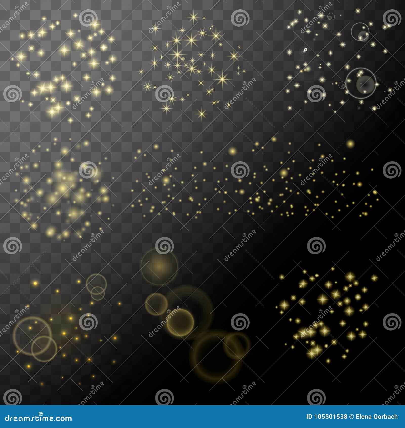 Ensemble de glotter d étoile d étincelle Éléments transparents abstraits de vecteur blanc