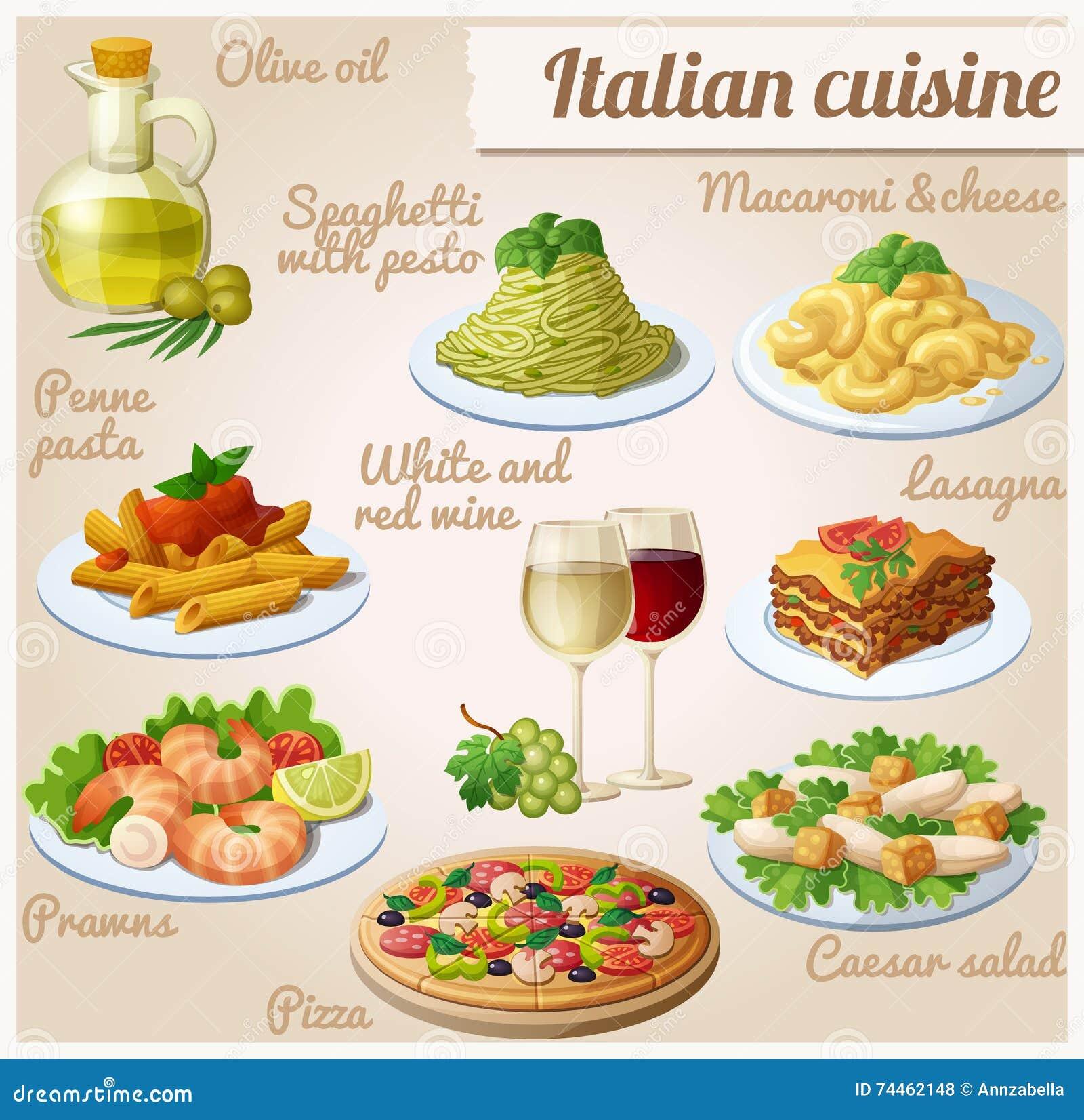Ensemble De Graphismes De Nourriture Cuisine Italienne Spaghetti
