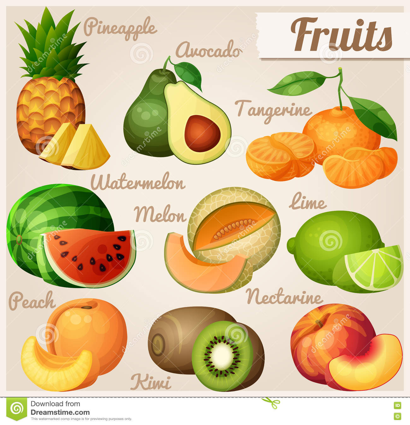 Ensemble de graphismes de nourriture Fruits Ananas d ananas, avocat, mandarine de mandarine, pastèque, cantaloup de melon, chaux,