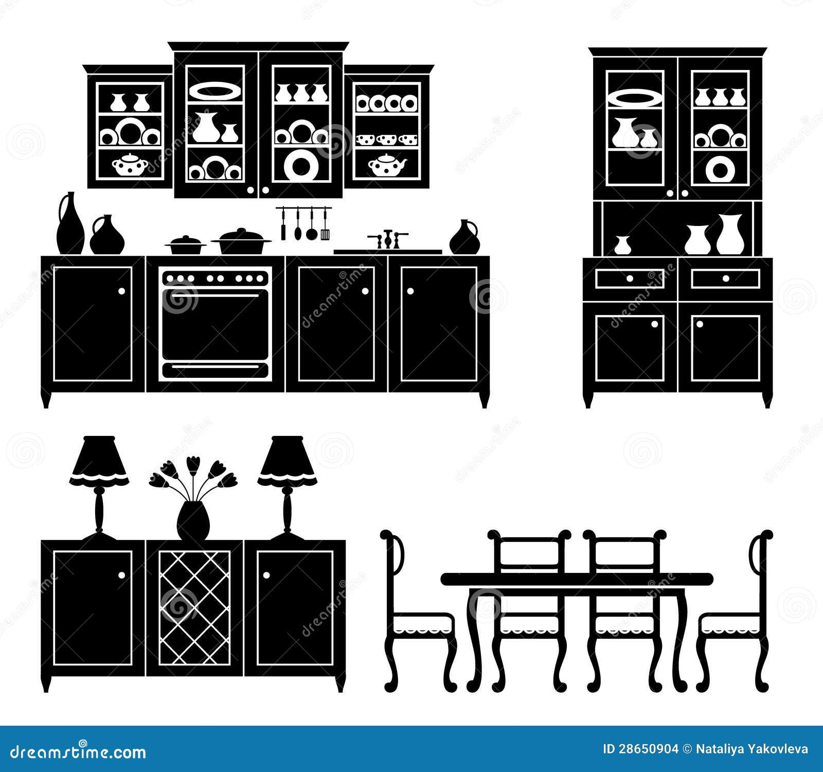 Ensemble de graphismes des meubles de cuisine images stock for Ensemble de meuble de cuisine