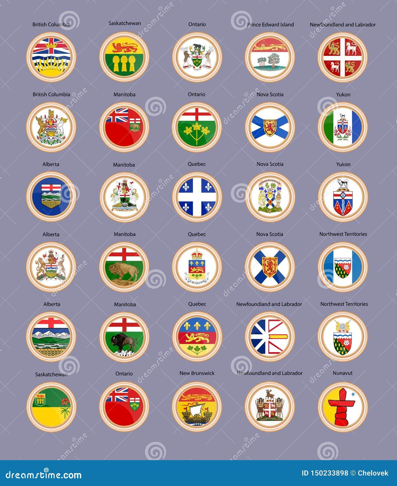 Ensemble de graphismes de vecteur Régions des drapeaux du Canada et du manteau des bras