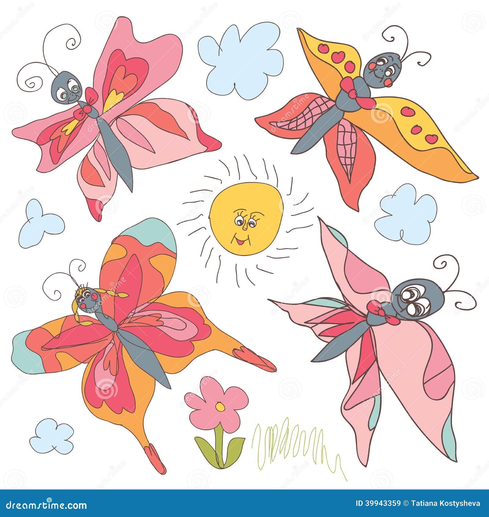 Ensemble de griffonnage de papillon dessin de la main des - Dessin main enfant ...