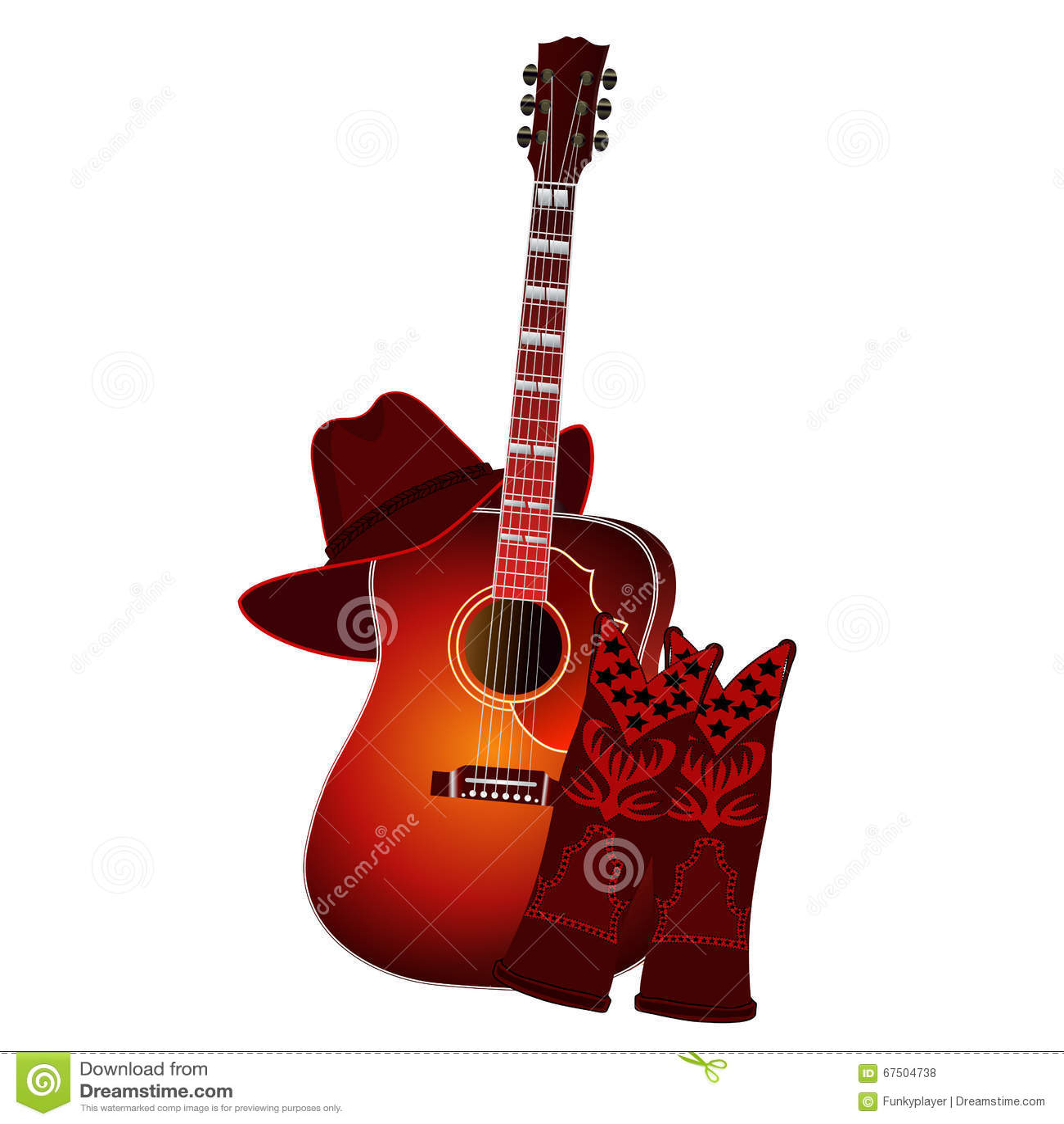 Ensemble de guitare acoustique, de bottes de cowboy et de chapeau de cowboy d isolement sur le fond blanc Illustration du vecteur