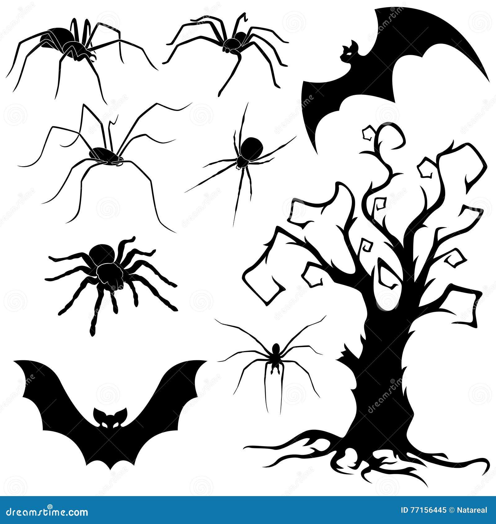 Ensemble de Halloween d araignées, de battes et d arbre sec
