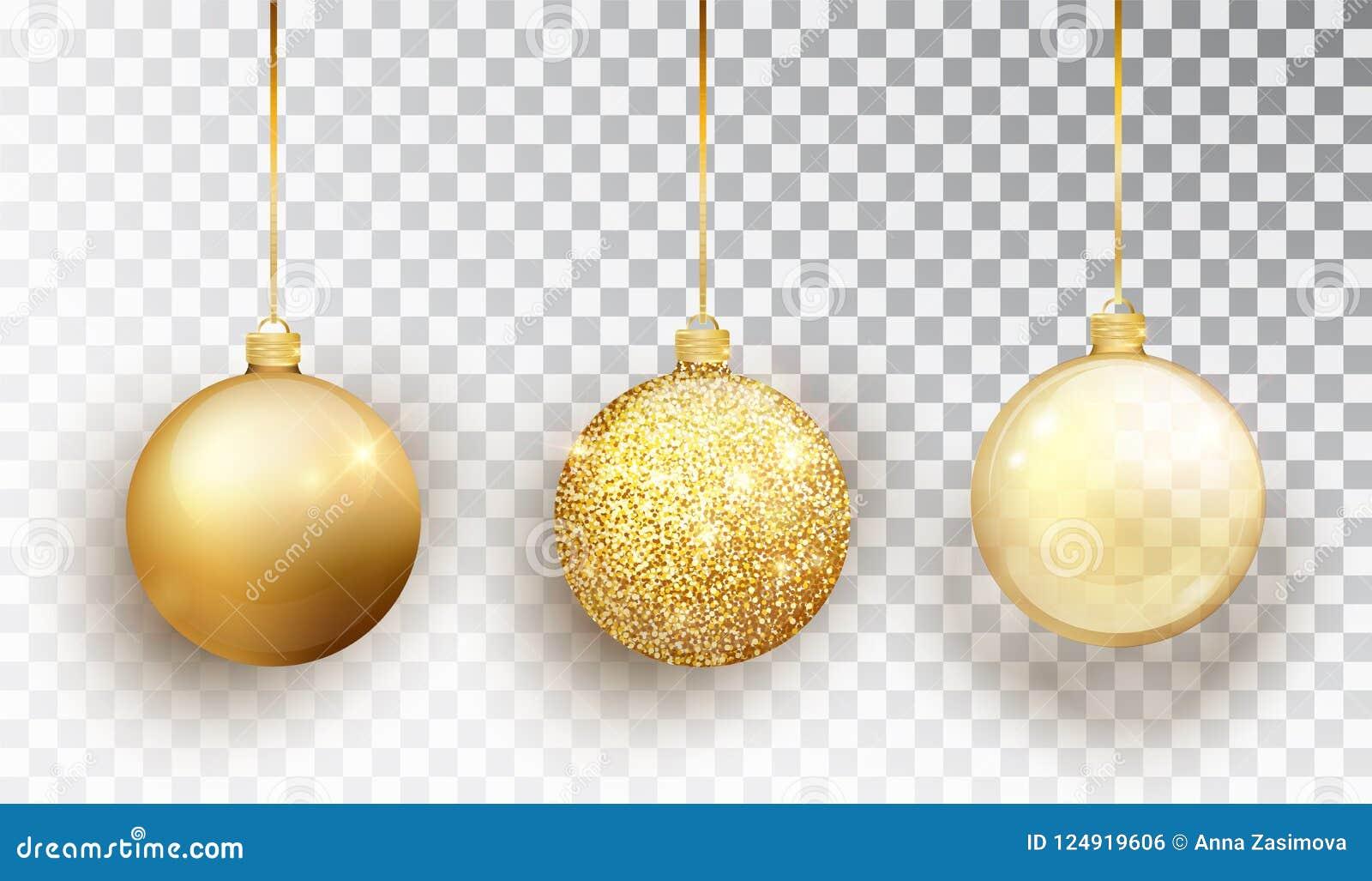 Ensemble de jouet d arbre de Noël d or d isolement sur un fond transparent Décorations de Noël de bas Objet de vecteur pour le de