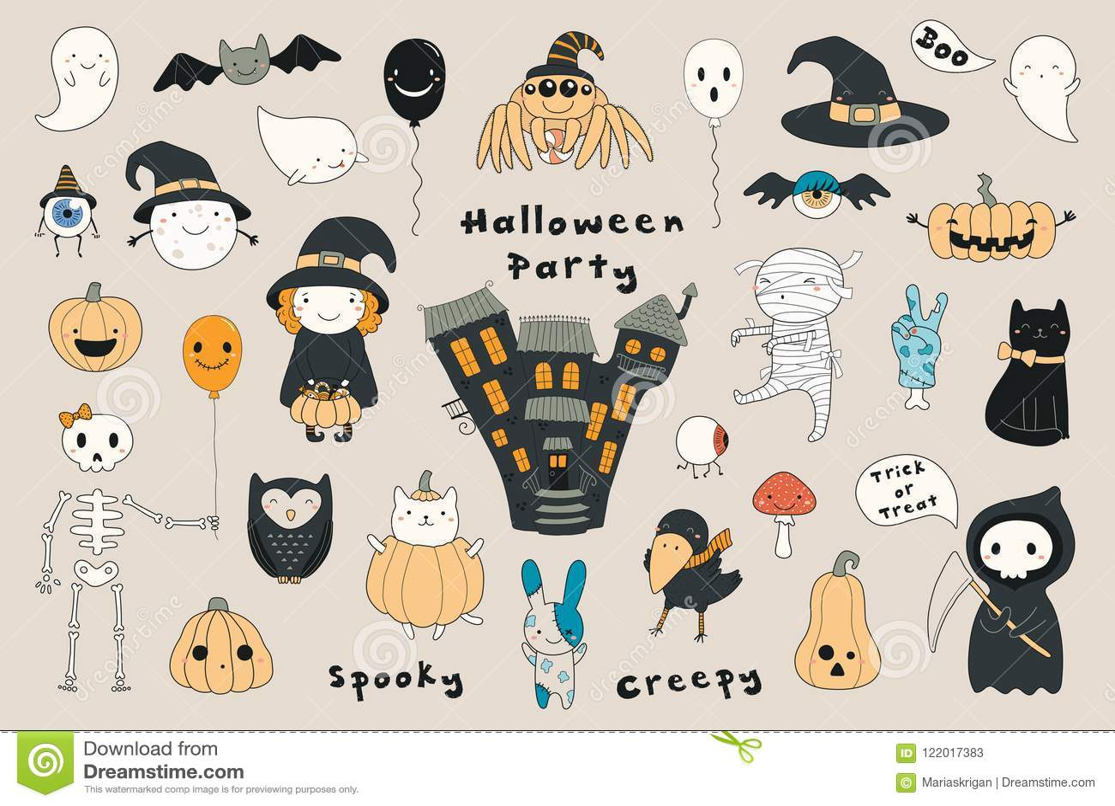 Ensemble De Kawaii Halloween Illustration De Vecteur