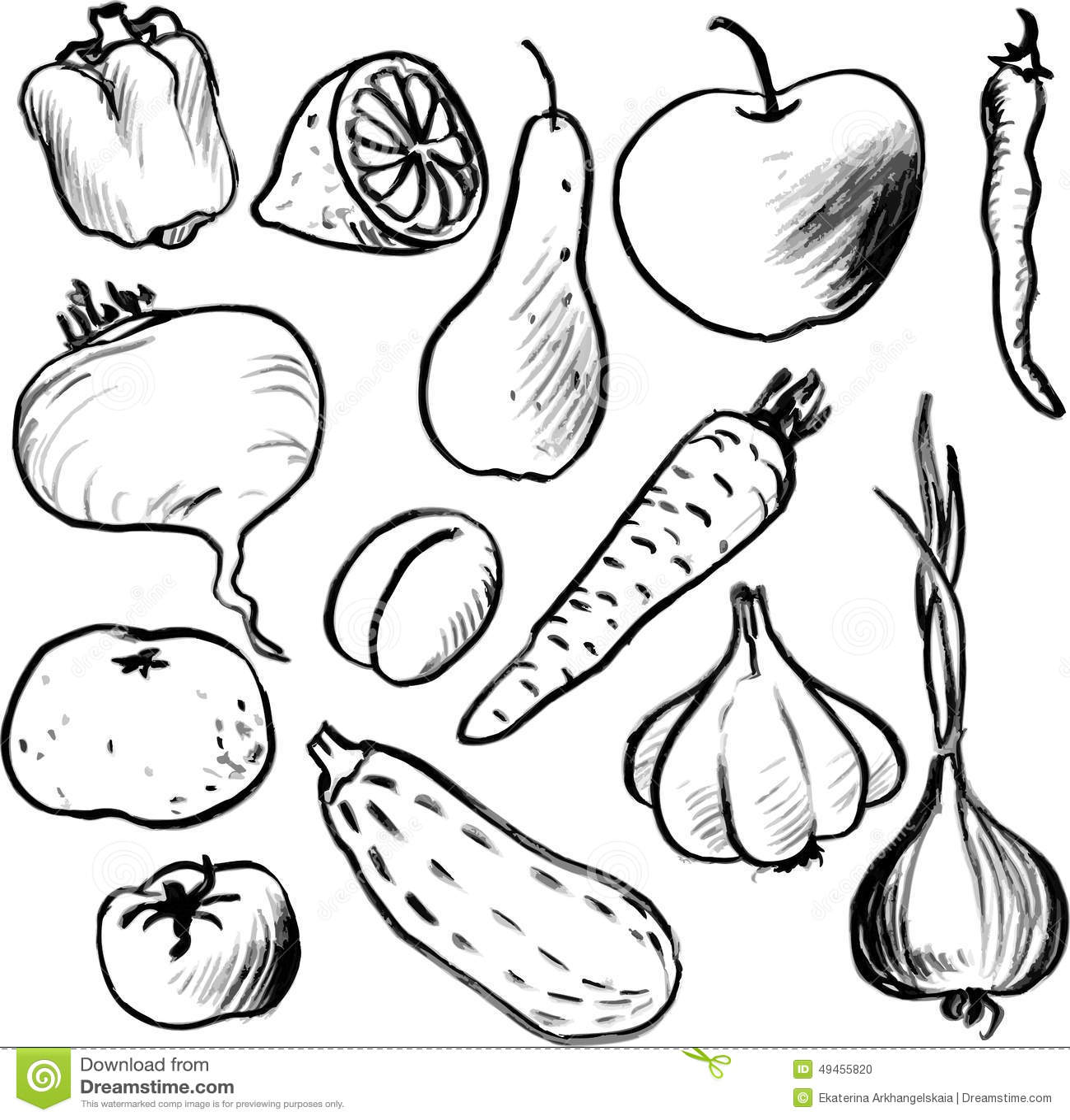 Ensemble de l gumes et de fruits de dessin illustration de - Dessins fruits ...