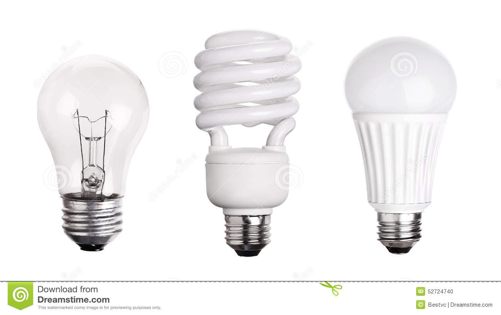 ensemble de l 39 ampoule led cfl fluorescente sur le blanc. Black Bedroom Furniture Sets. Home Design Ideas