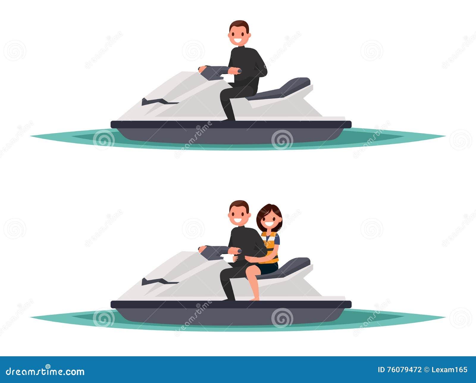Ensemble de l homme sur le ski un de jet et avec la femme Illustrati de vecteur