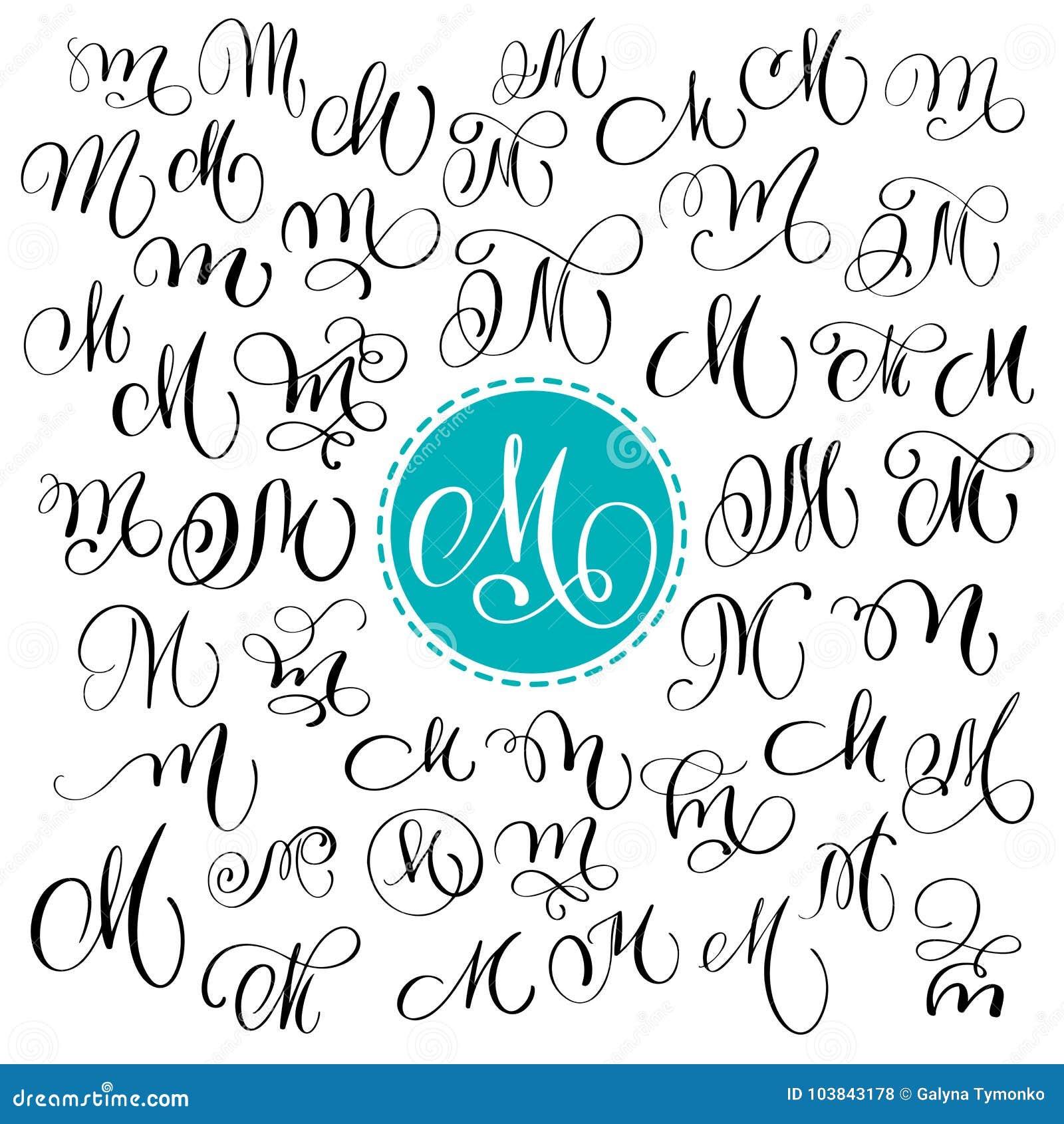 Calligraphie Lettre ensemble de la lettre tirée par la main m de calligraphie de vecteur