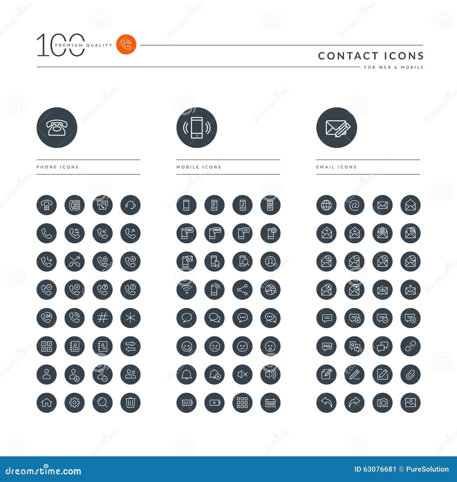 Download Ensemble De La Ligne Mince Icônes De Web Pour La Communication Illustration de Vecteur - Illustration du email, électronique: 63076681