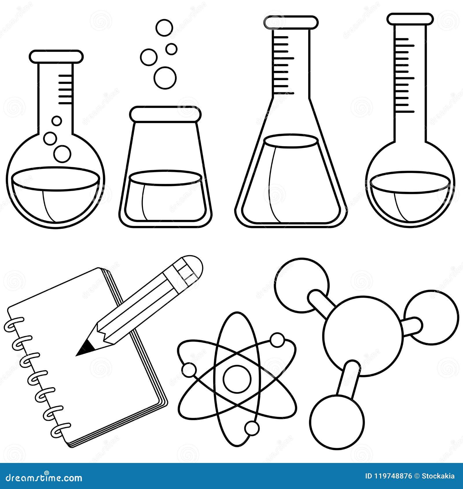 Ensemble De La Science Et De Chimie Page Noire Et Blanche De Livre ...