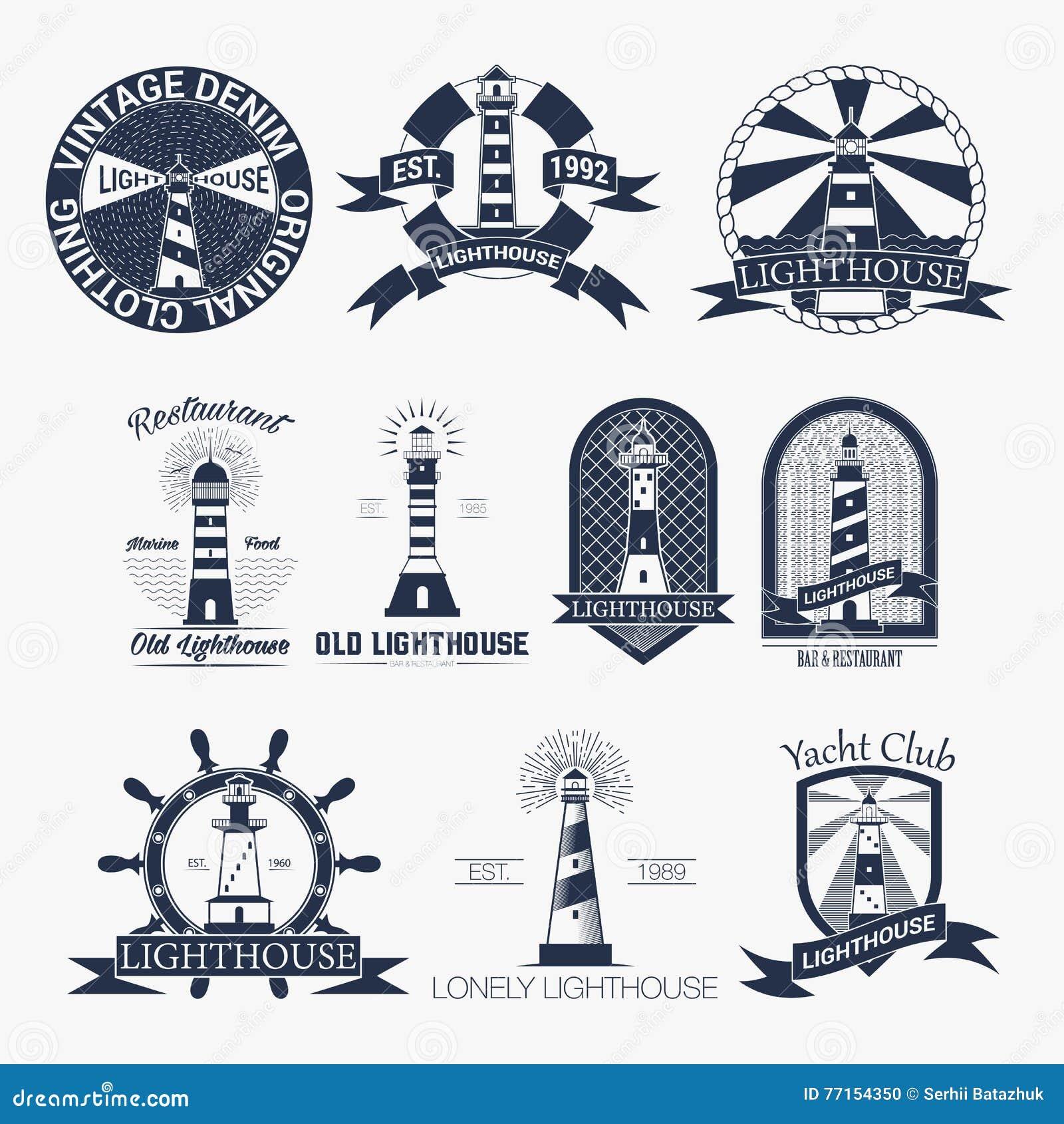 Ensemble de label de phares, de logo ou de calibre d insigne Illustration de vecteur