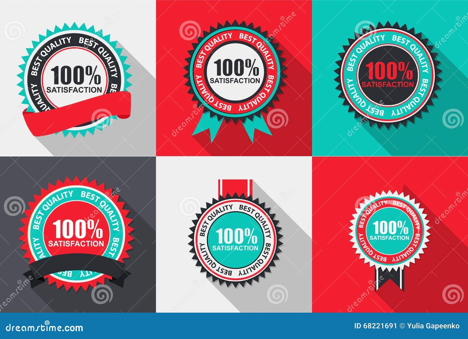 Ensemble 100  de label de qualité de satisfaction de vecteur dans la conception moderne plate