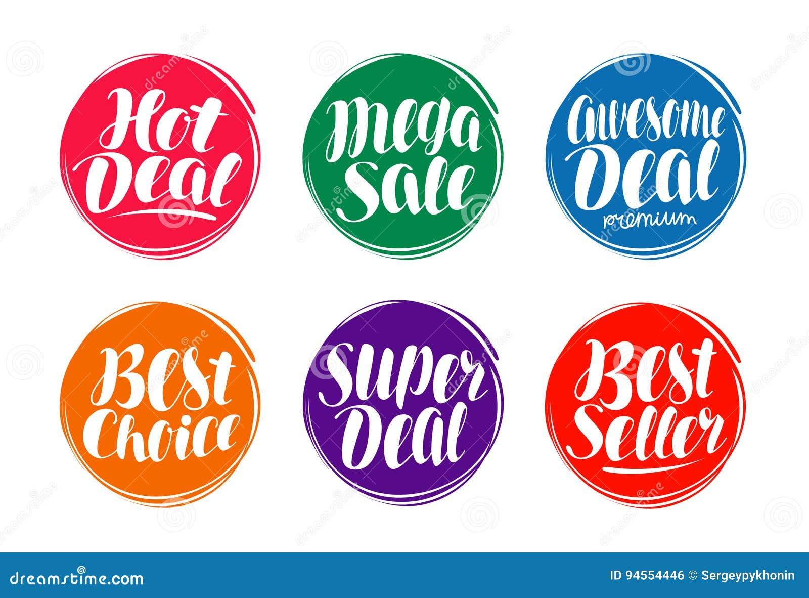 Ensemble de label de vente Affaire chaude, meilleur choix, icône de vendeur ou symbole Lettrage manuscrit, illustration de vecteu