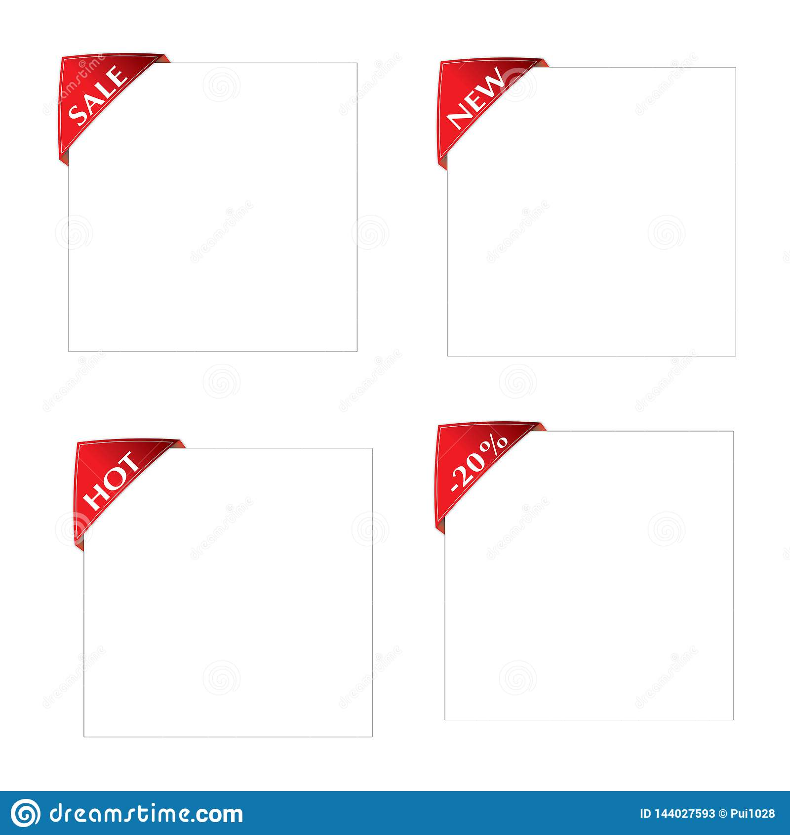 Ensemble de label rouge de coin nouveau, vente, chaude, feuille de livre blanc de -20 on