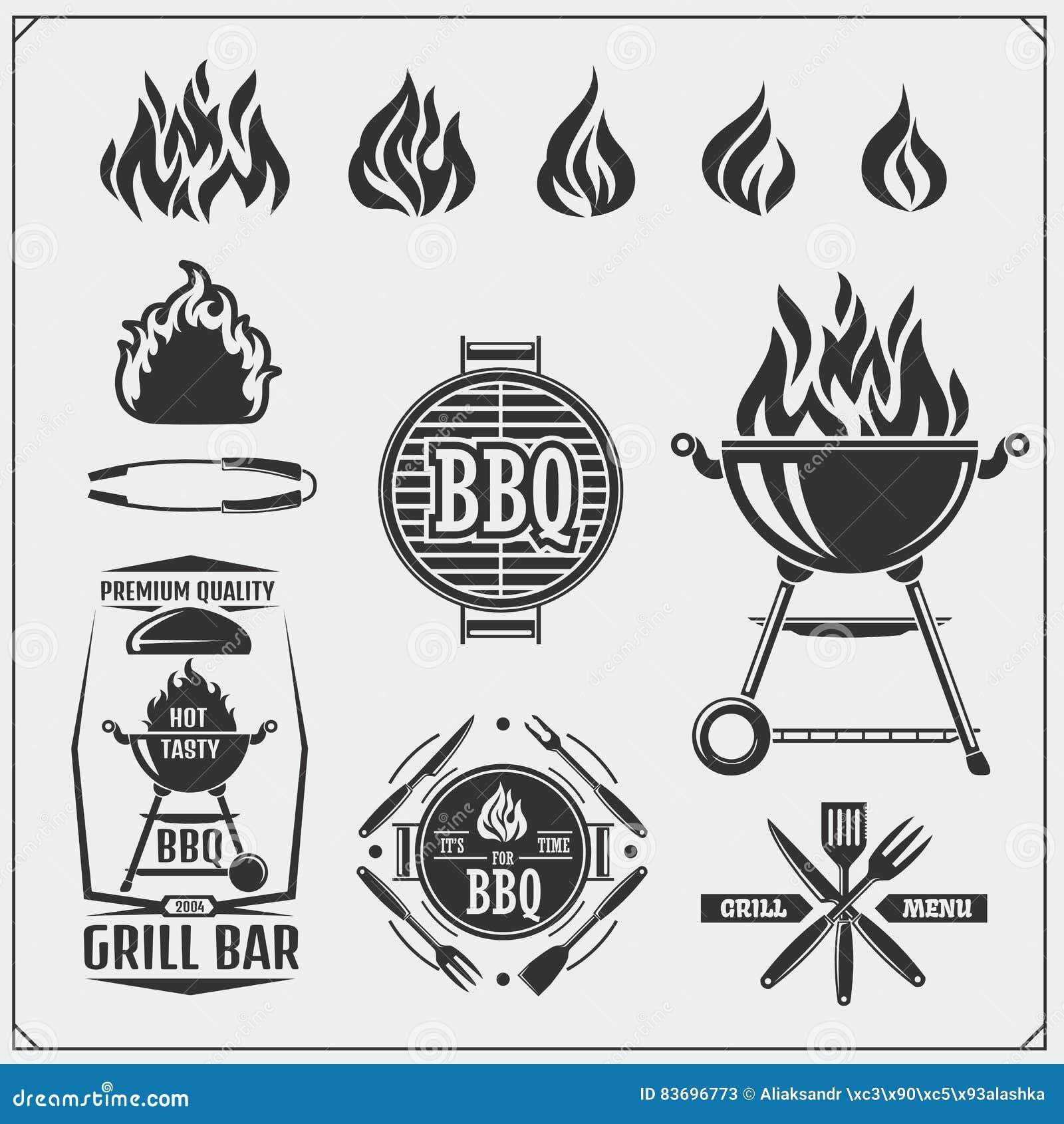 Ensemble de labels de BBQ et de gril Emblèmes de barbecue, insignes et éléments de conception Illustration de monochrome de vecte