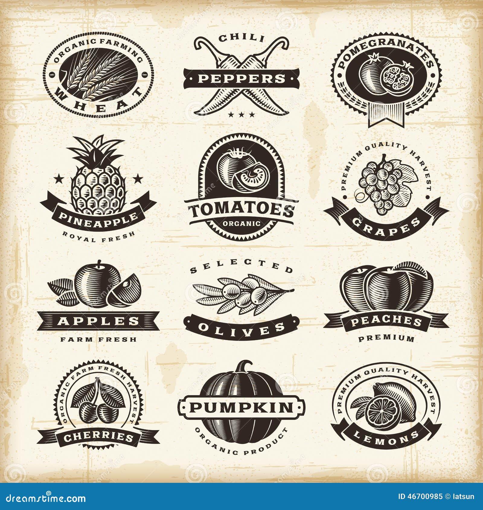 Ensemble de labels de fruits et légumes de vintage