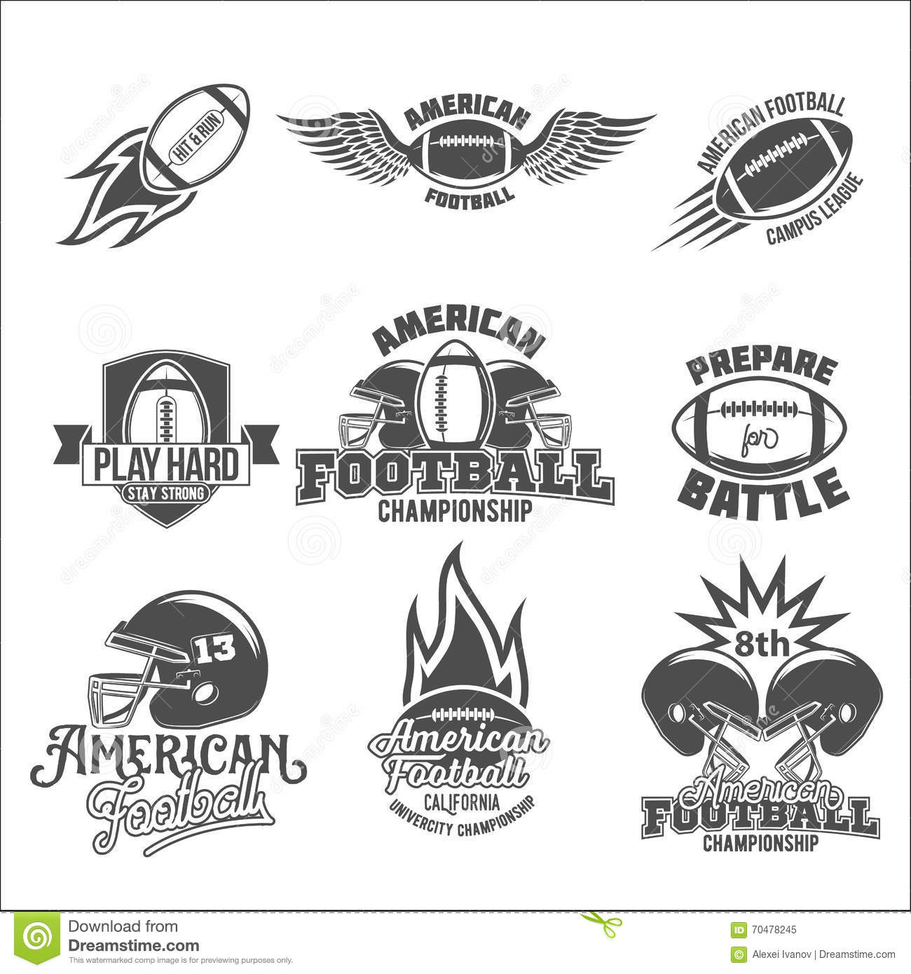 Ensemble de labels de logo de football américain