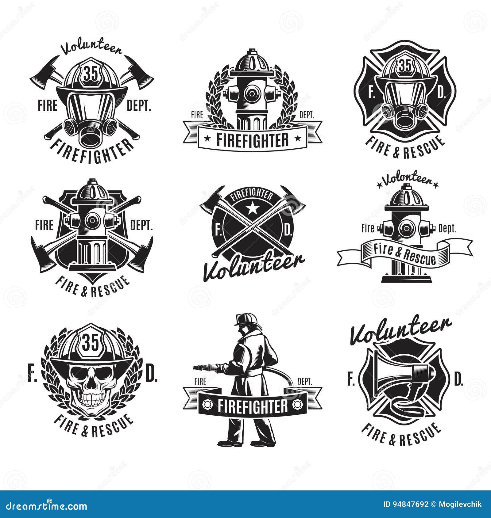 Ensemble de labels de lutte contre l incendie monochrome