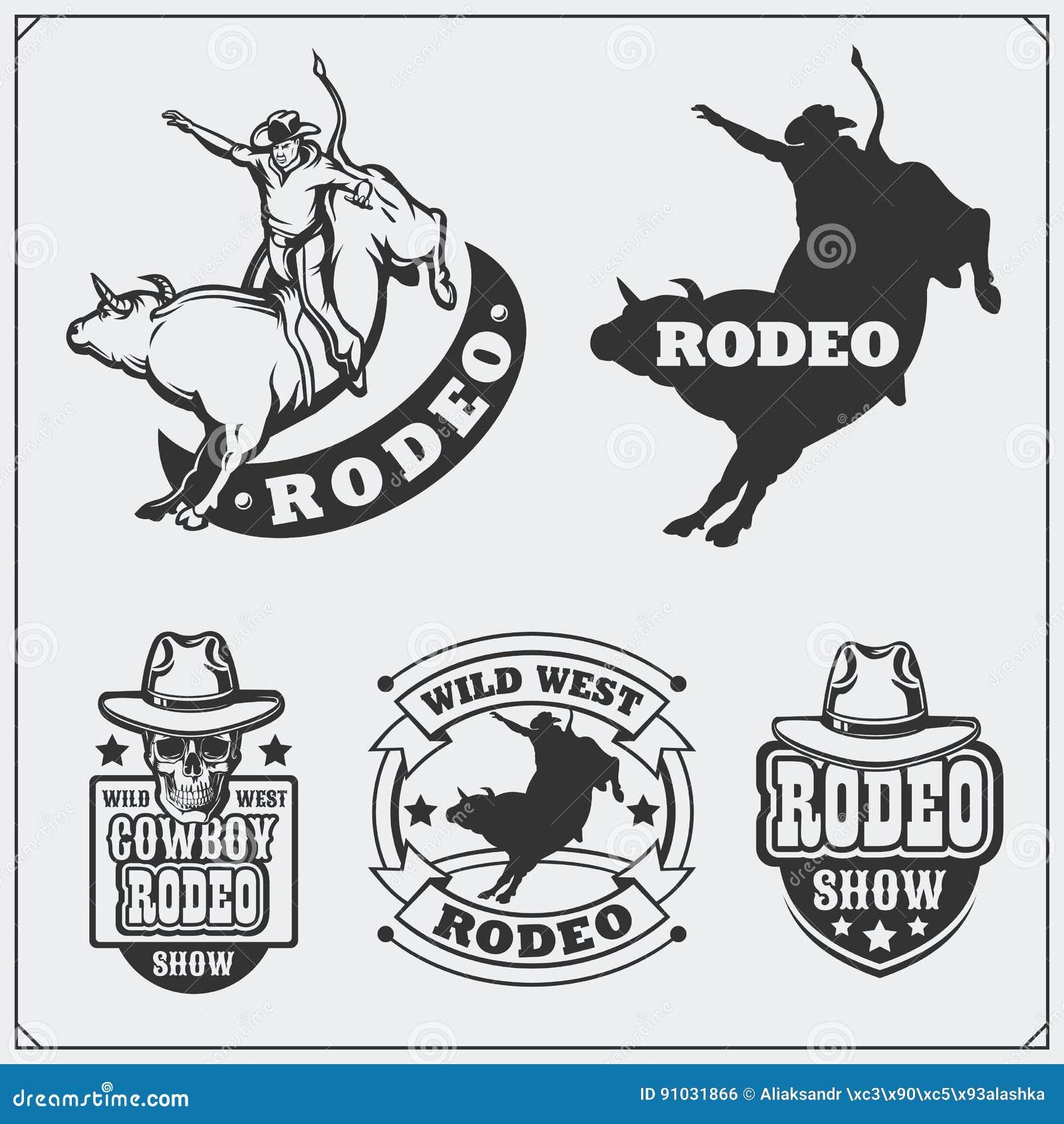 Ensemble de labels de rodéo de vintage, d insignes, d emblèmes et d éléments conçus