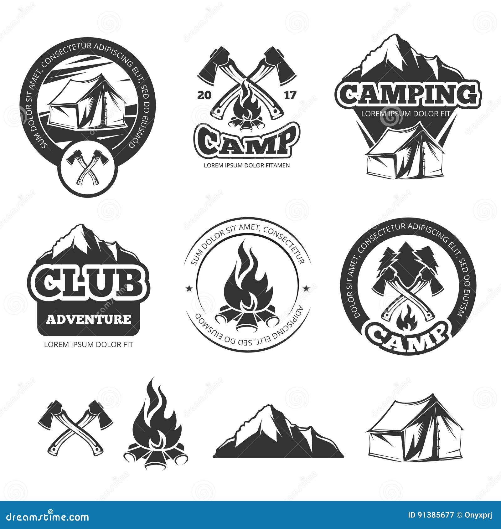 Ensemble de labels de vintage de nature pour le camp de scout Insignes de camping avec la tente de touristes Illustrations de vec