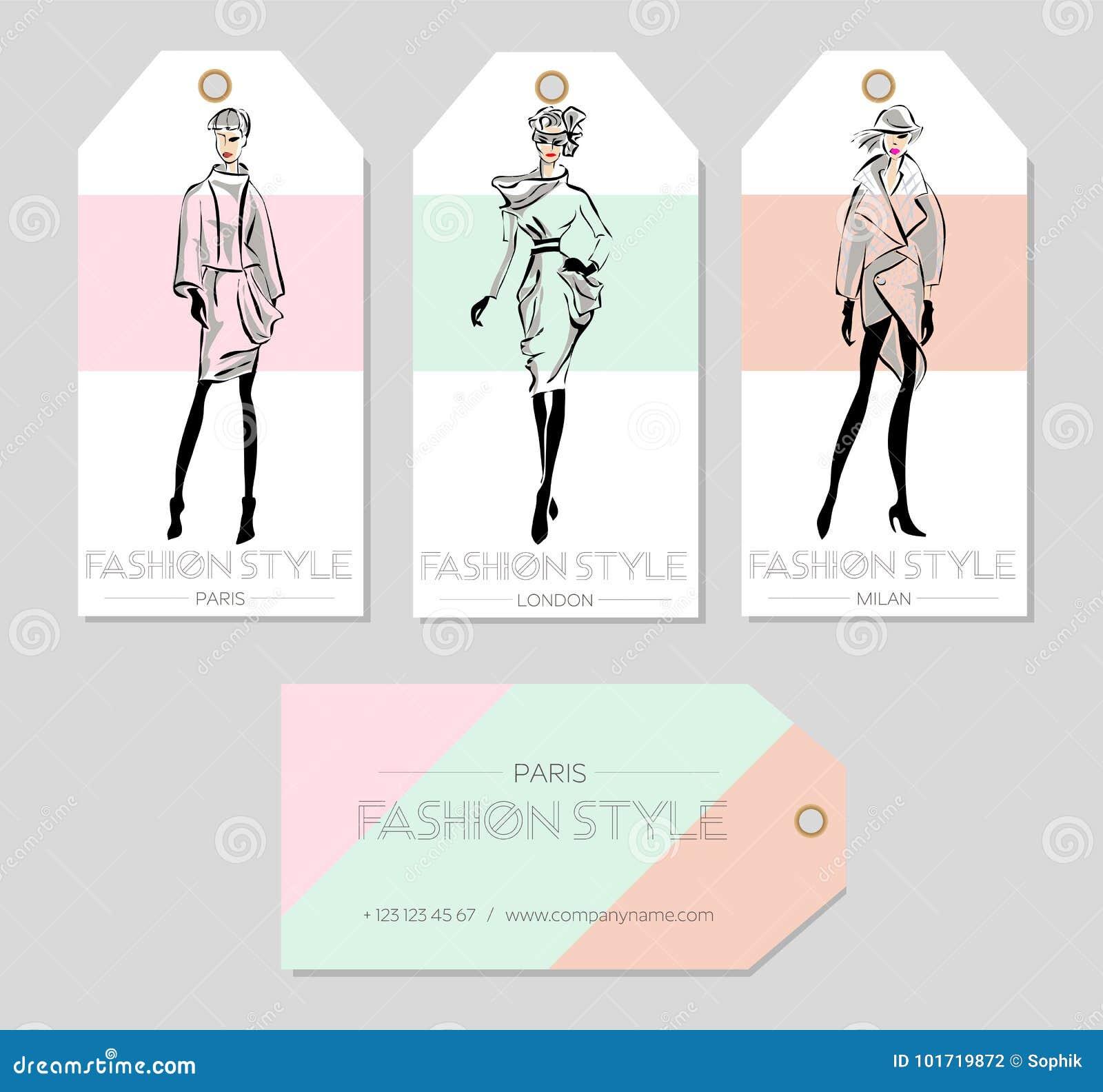 Ensemble De Labels Mode Avec Belles Femmes Dans Le Style Croquis Carte Visite Professionnelle Paris Londres Milan