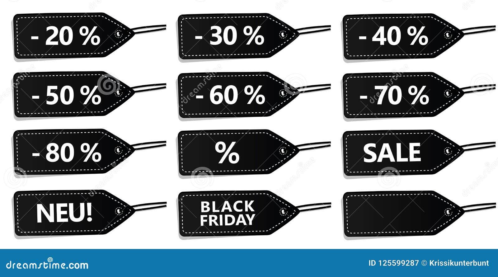 Ensemble de labels de noir à vendre