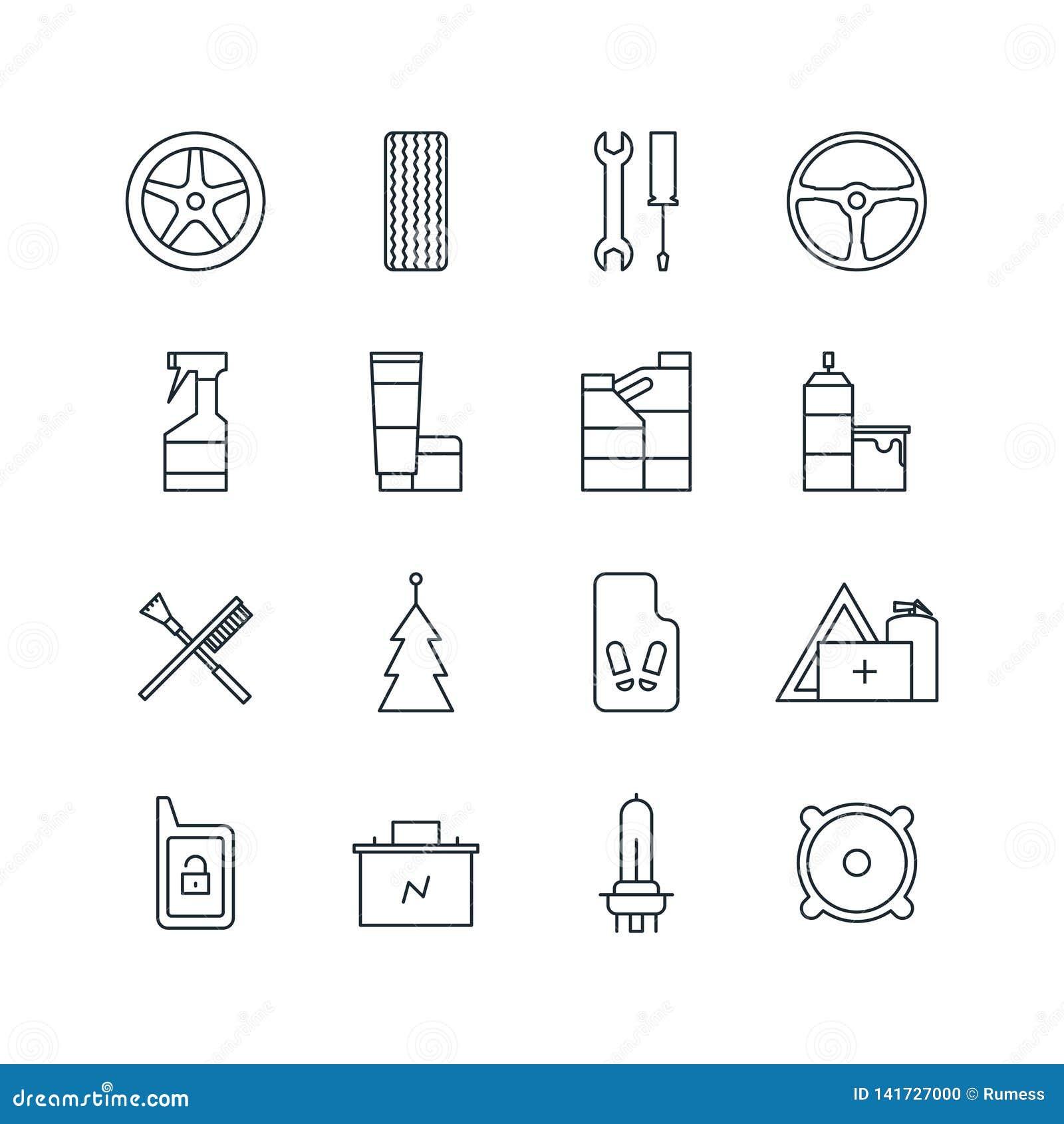 Ensemble de ligne icônes d accessoires de voiture Illustration de vecteur