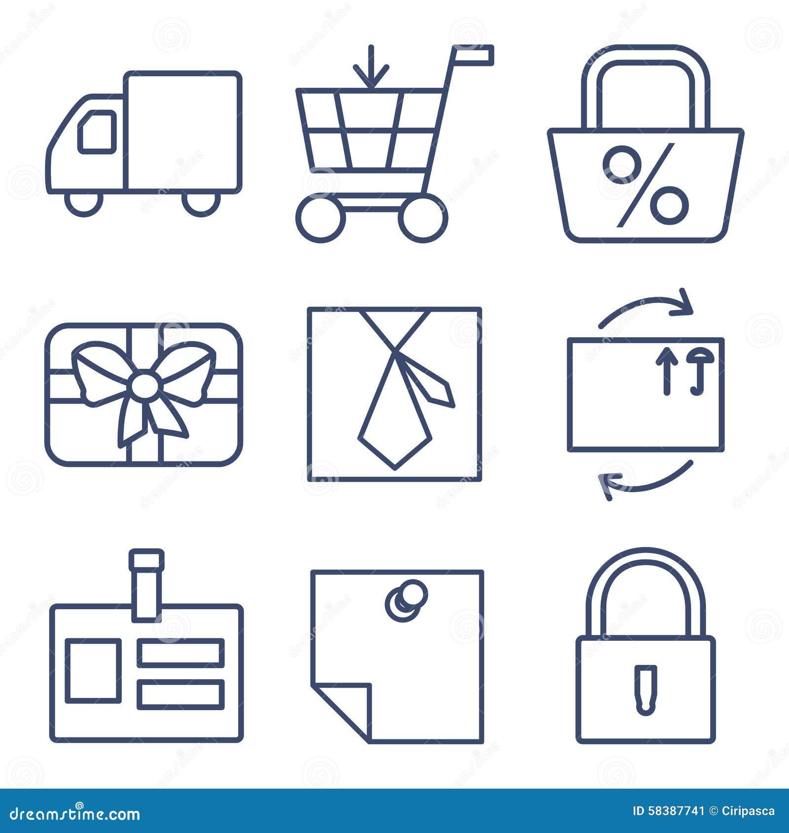 Ensemble de ligne icônes pour faire des emplettes, commerce électronique