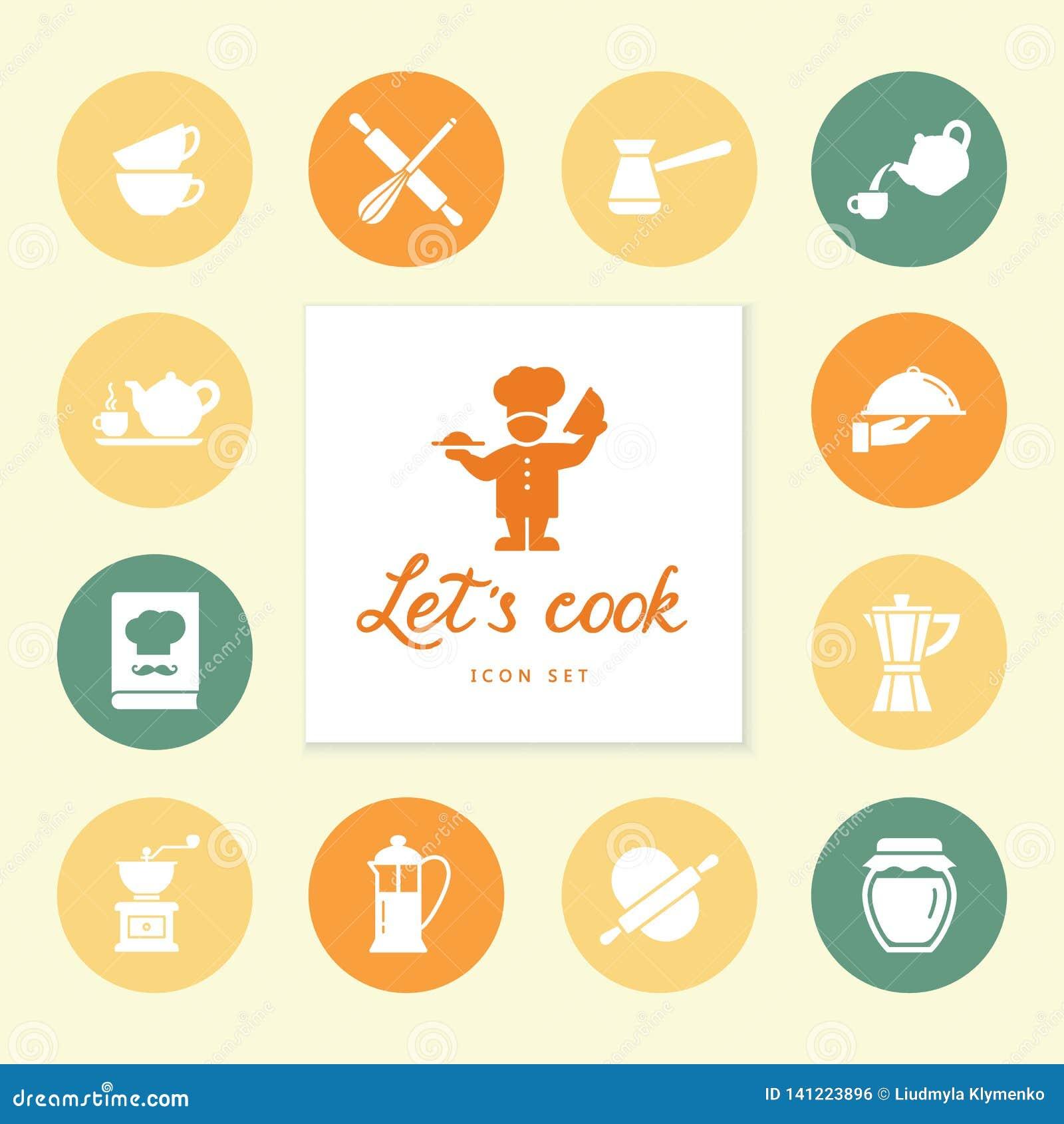 Ensemble de ligne propre icônes comportant de divers ustensiles de cuisine et faisant cuire les objets relatifs