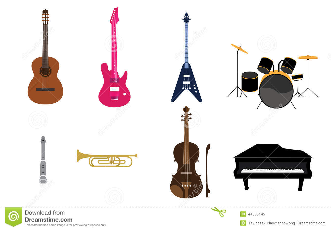 ensemble de liste d 39 instruments de musique illustration de. Black Bedroom Furniture Sets. Home Design Ideas