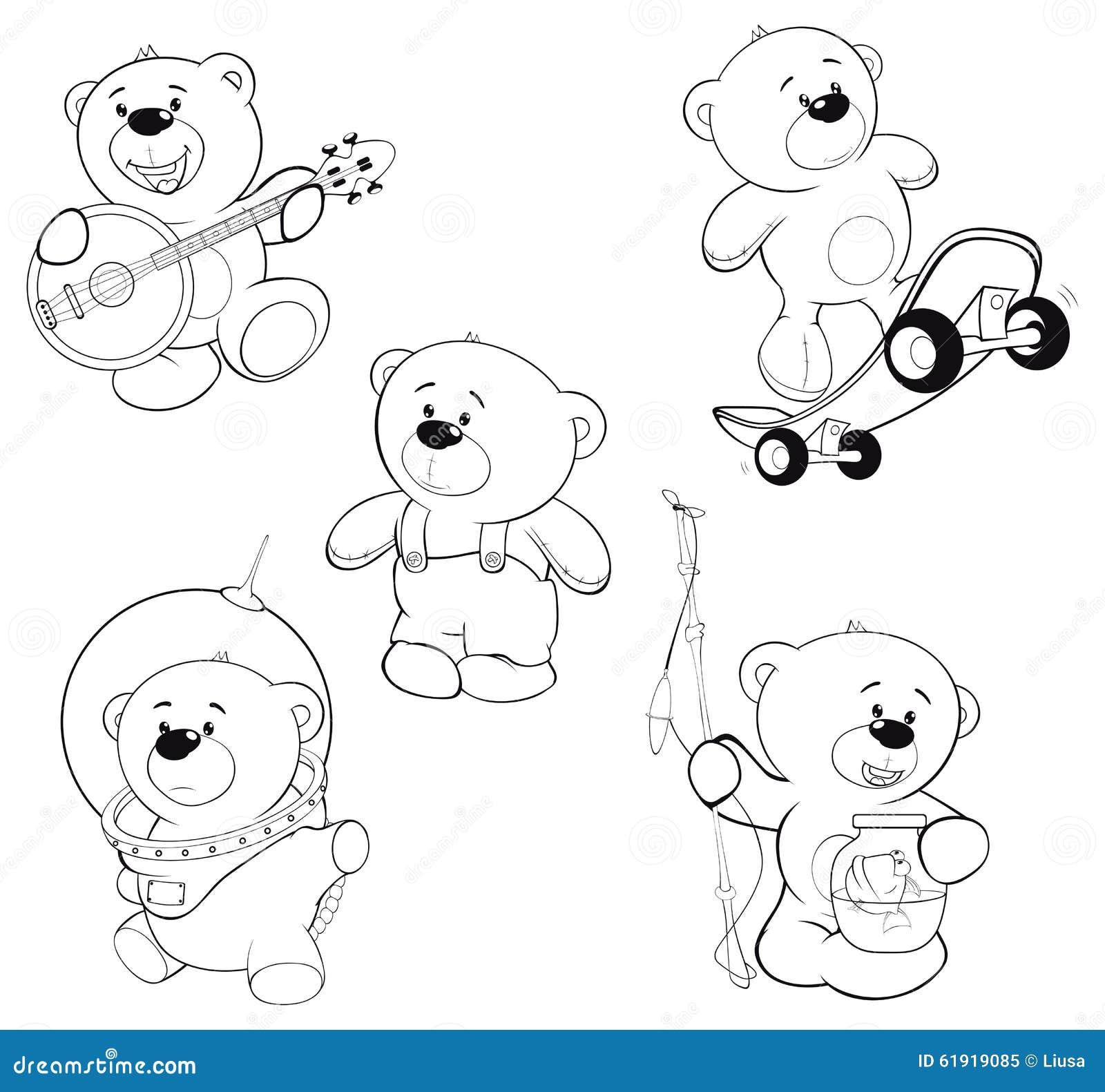 Ensemble De Livre De Coloriage D'ours Illustration de ...