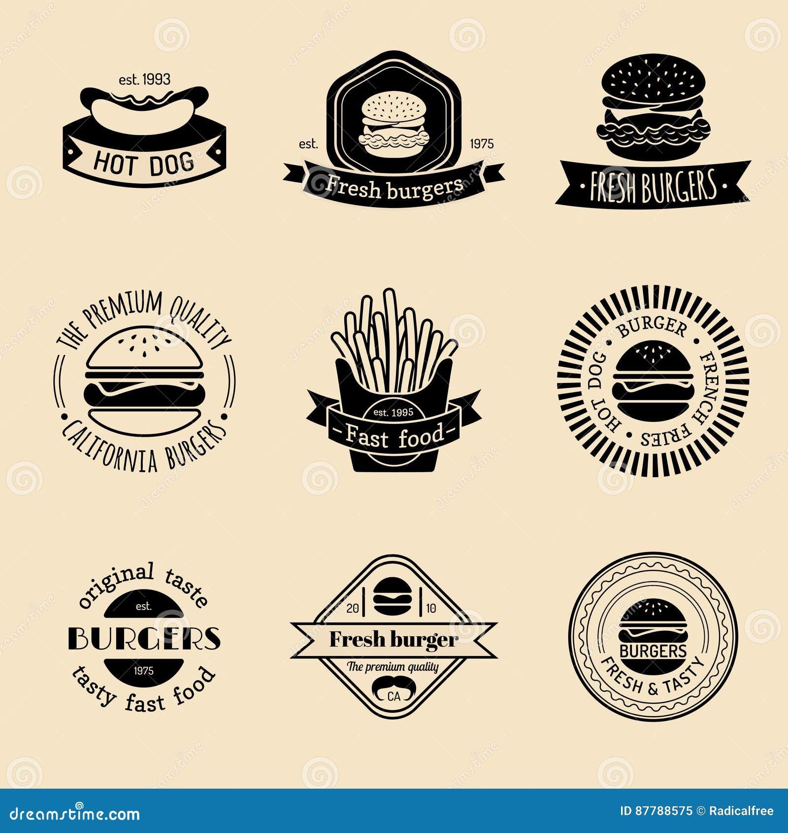 Ensemble de logo d aliments de préparation rapide de vintage de vecteur Rétro collection de signes de consommation Hamburger, ham