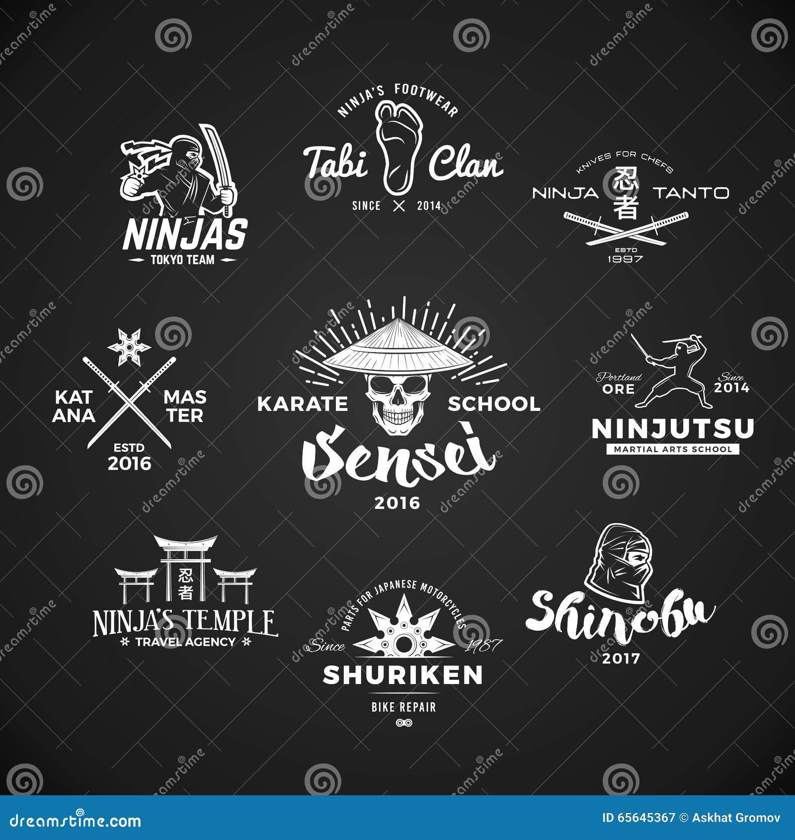 Ensemble de logo de Ninjutsu Concept d illustration de T-shirt de crâne de Sensei sur le fond gris Insignes d arme de Katana de J