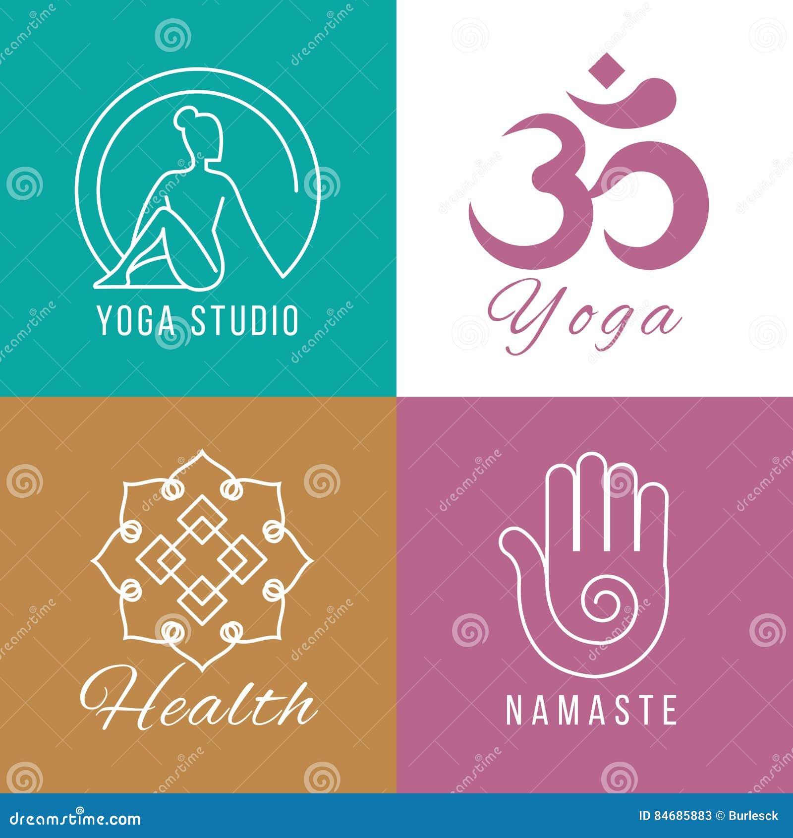 Ensemble de logo de yoga Harmonie florale et de nature, symboles de vecteur de santé de zen