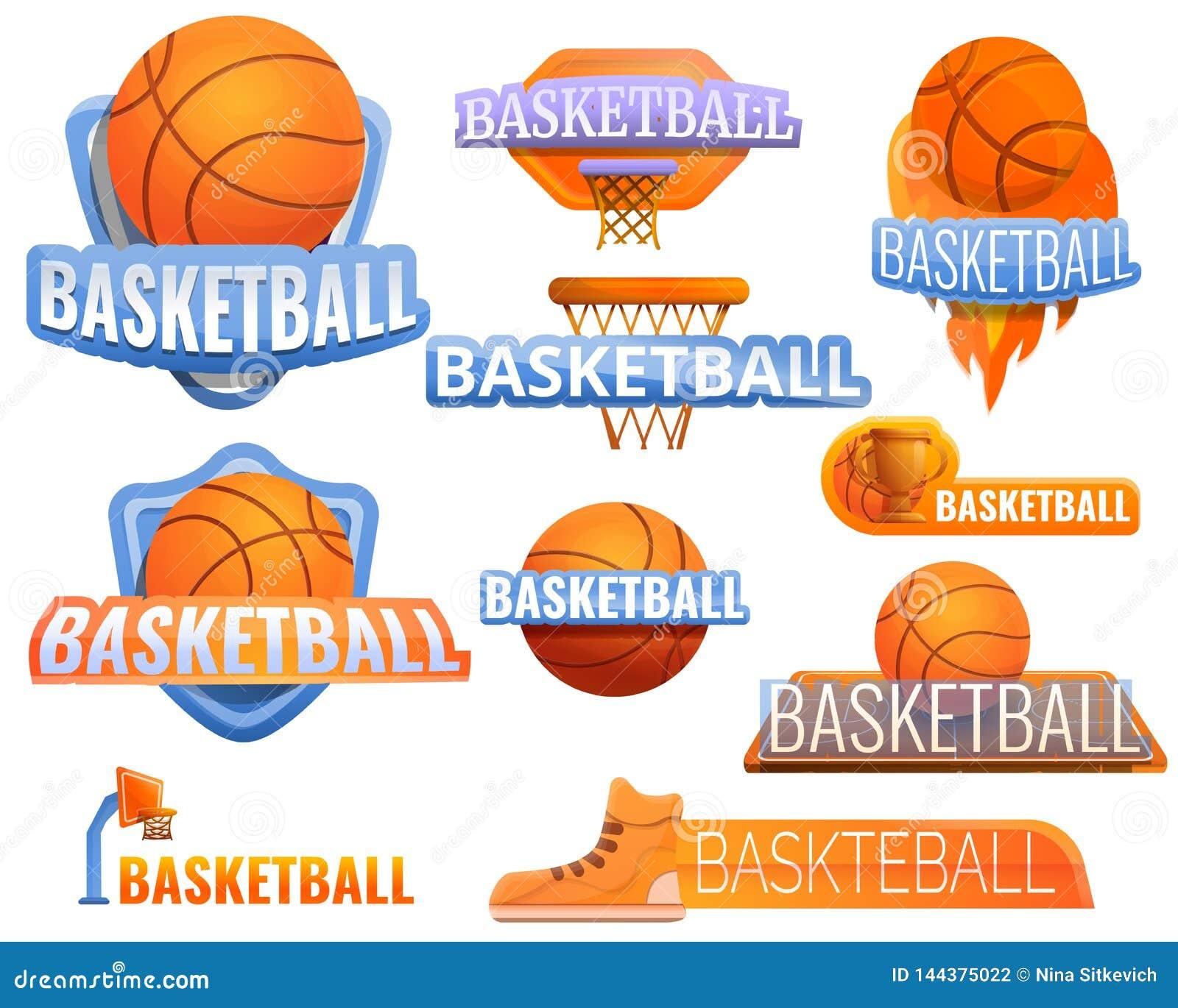 Ensemble de logo de sport de basket-ball, style de bande dessinée