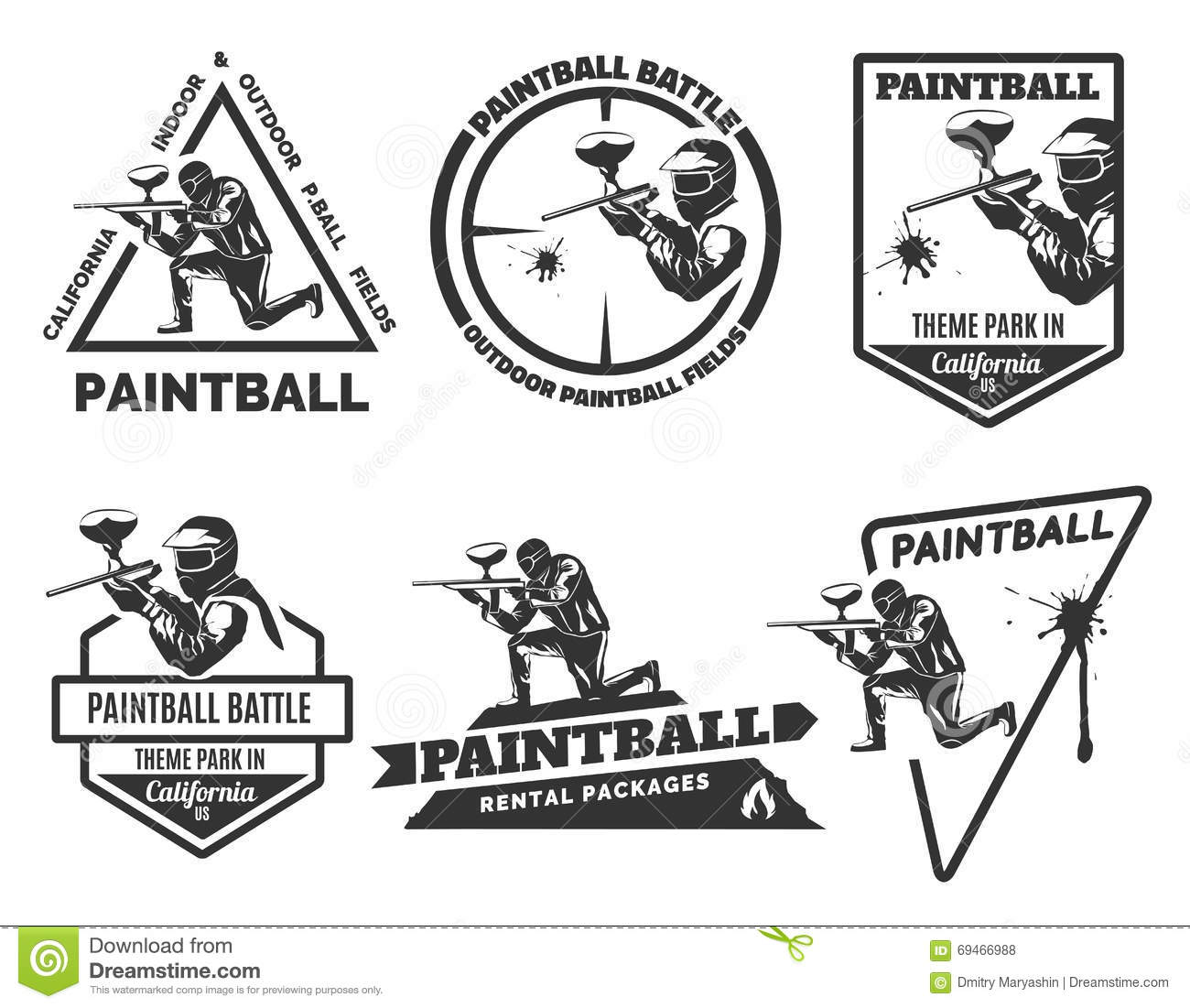 Ensemble de logos monochromes de paintball
