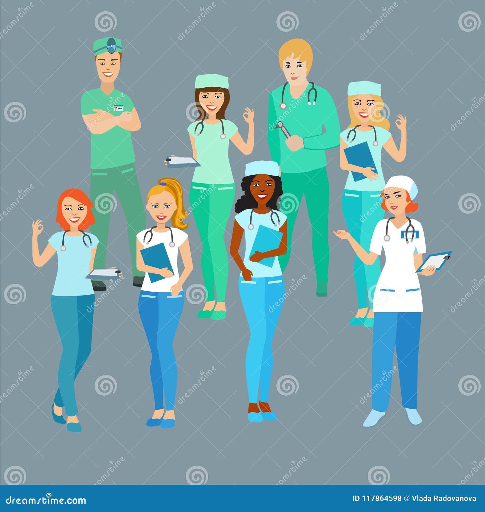 Ensemble de médecins ouvriers médicaux Les étudiants profession