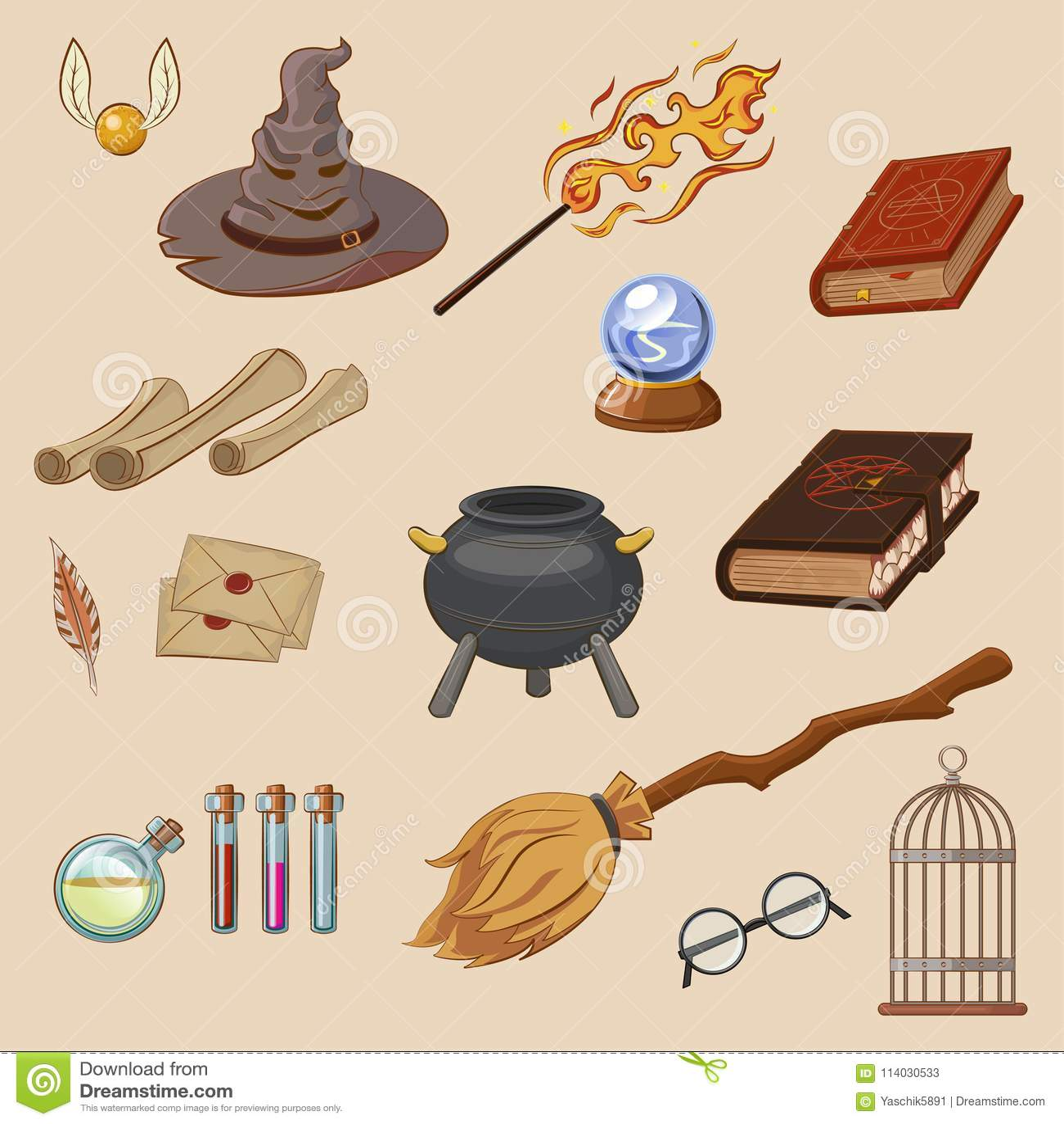Ensemble de magie Magicien de choses : magicien, chapeau, livre magique, petit pain, breuvage magique, balai