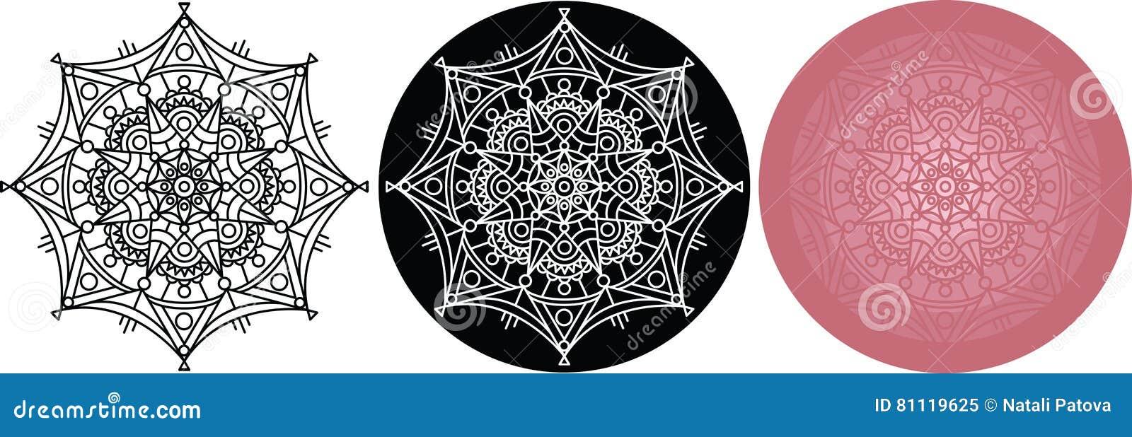 Coloriage Mandala Couleur.Ensemble De Mandala Pour Livre De Coloriage Noir Blanc Modele De