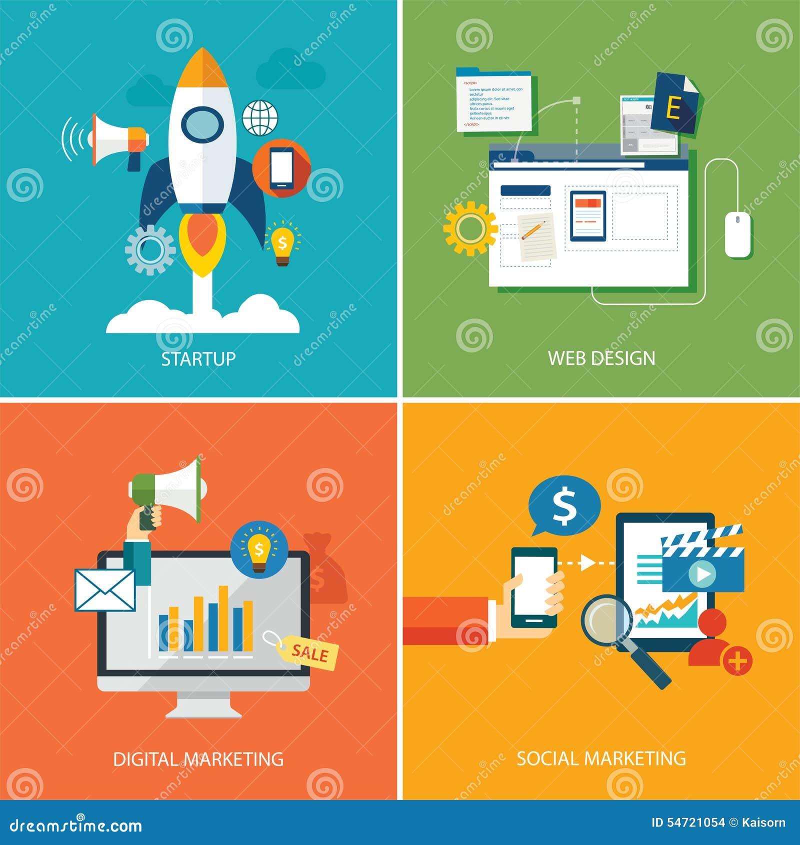 Ensemble de marketing numérique, de démarrage, de web design et de marketin social